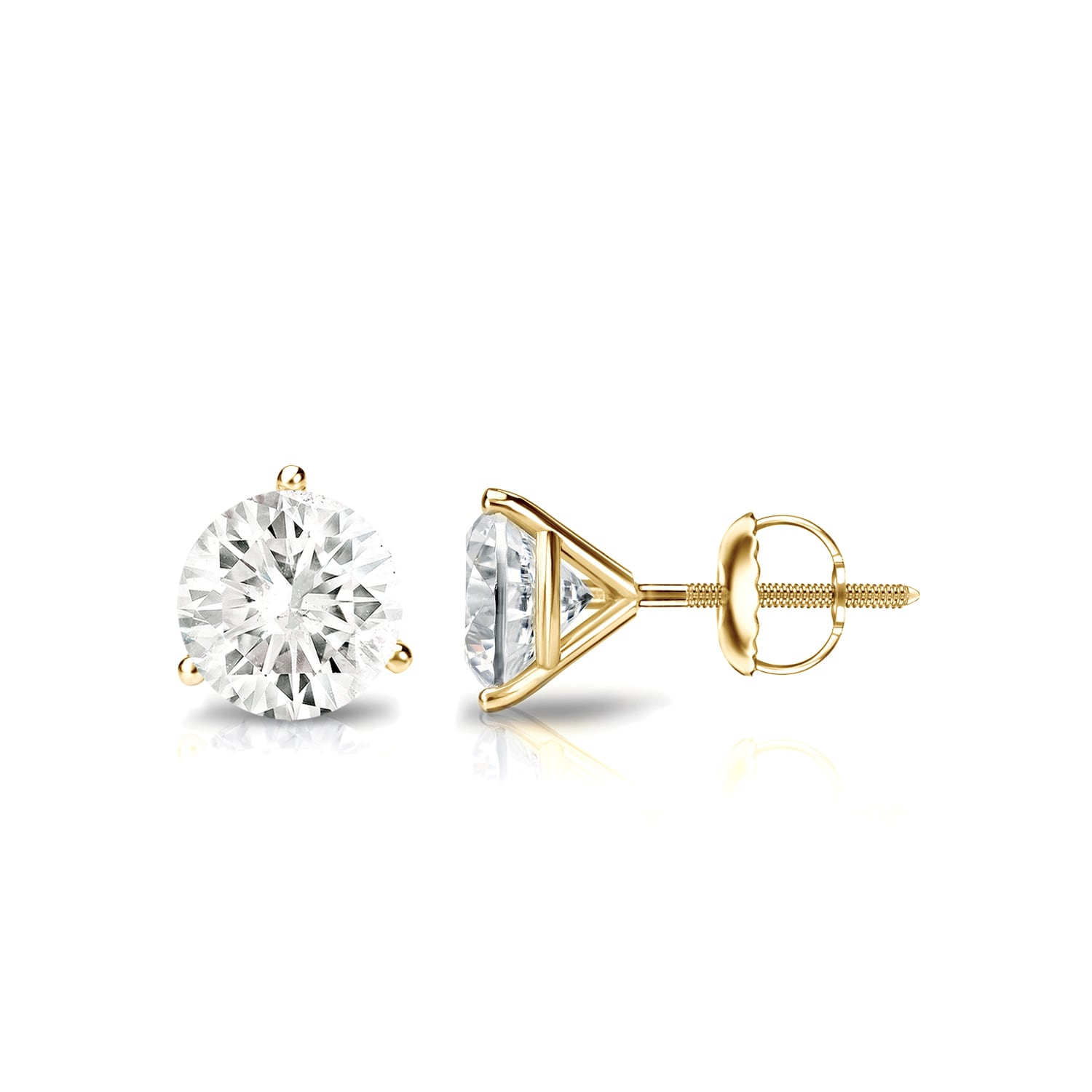 stud pin martini screw cocktail settings gold earrings in prong diamond back