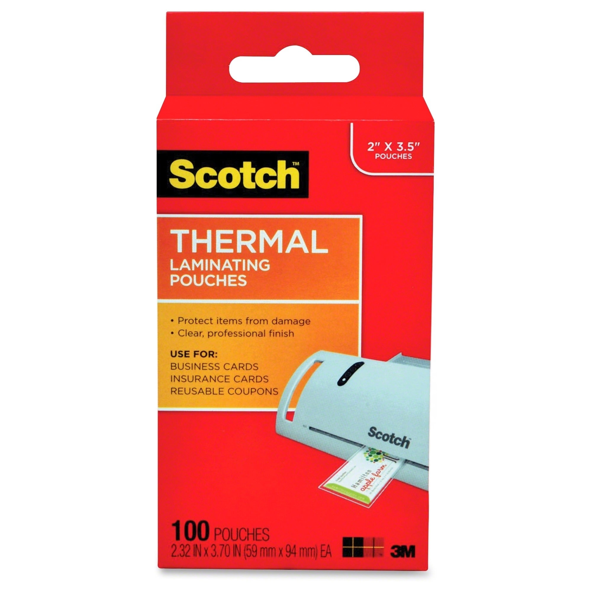 Scotch Thermal Laminating Pouches, Business Card Size - 100/PK ...