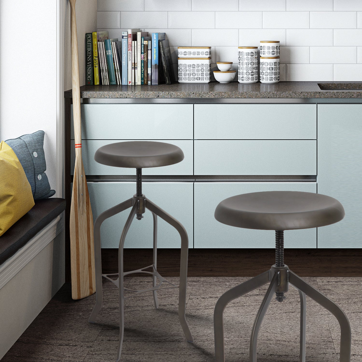 Shop Industrial Style Swivel Bar Stools - Free Shipping Today ...