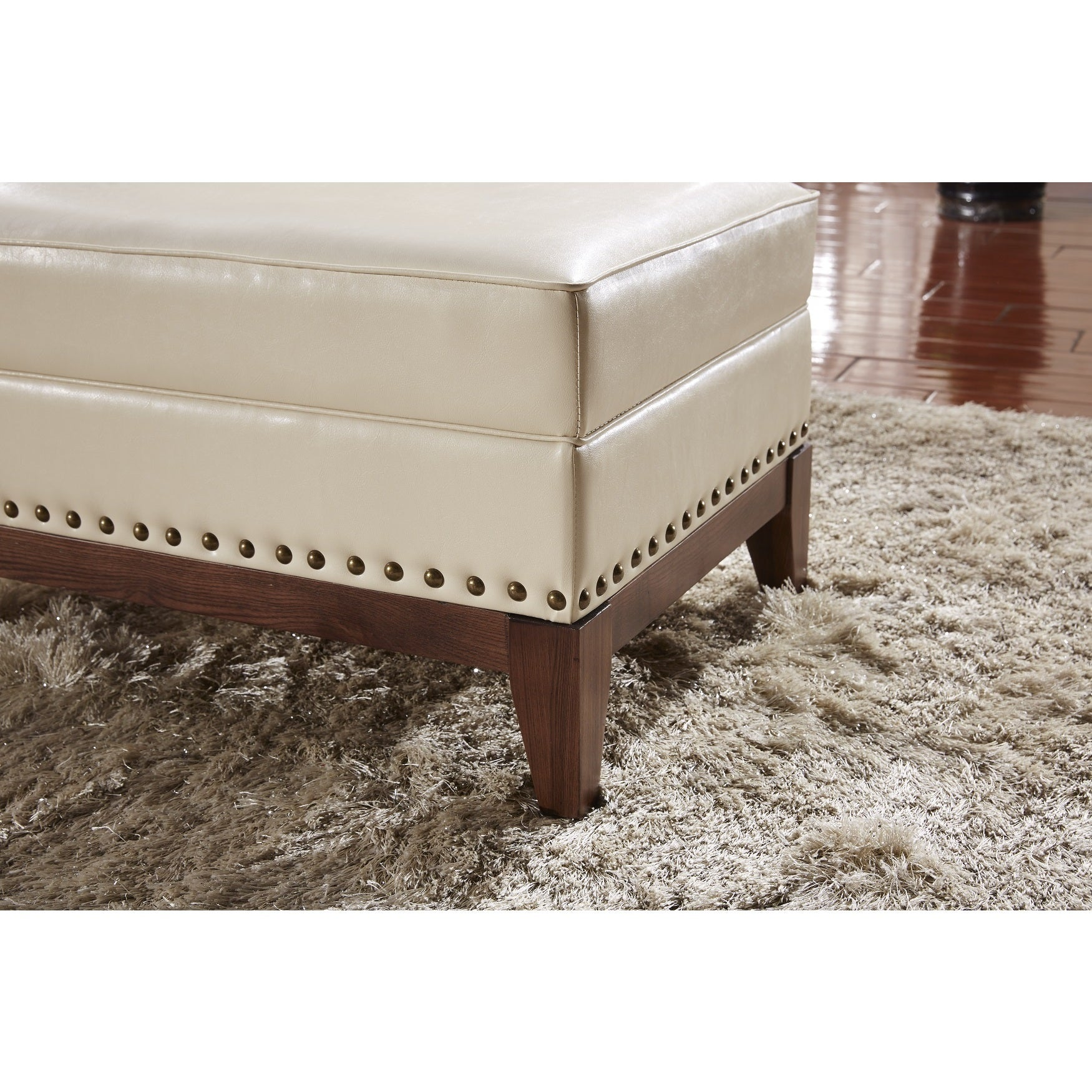 Castillian Premium Faux Leather Ottoman Bench With Nailhead Trim On Free Shipping Today 10907553