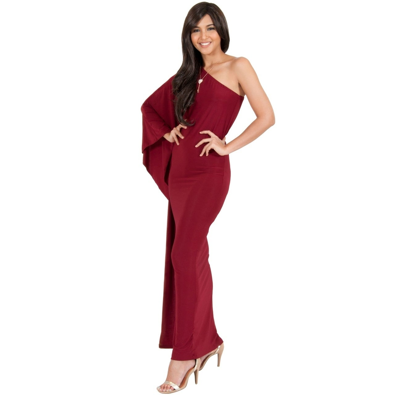 f70f483524f4 Shop KOH KOH Women One Shoulder Sleeve Slimming Cocktail Gown Maxi ...