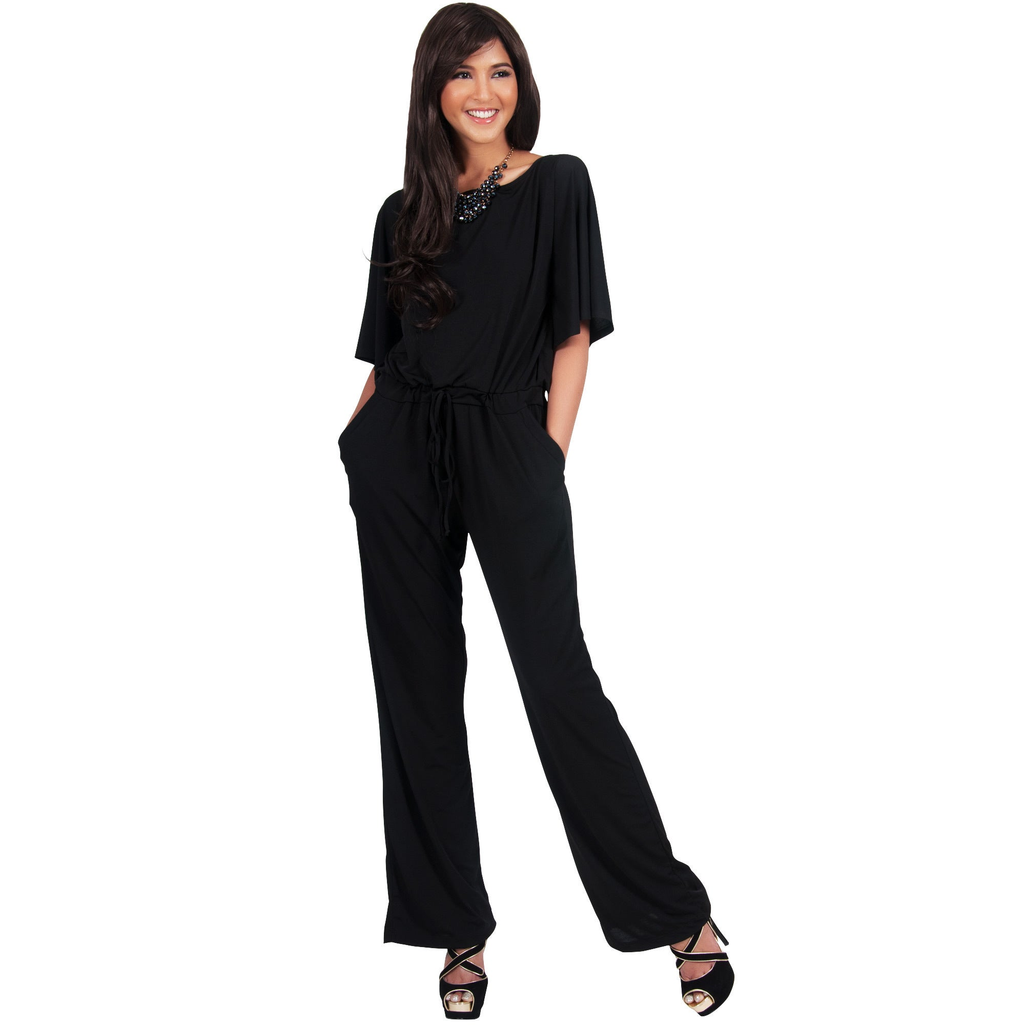 58f258d90fd6 Shop KOH KOH Womens Short Sleeve Boat Neck Slimming Formal Jumpsuit - Free  Shipping On Orders Over  45 - Overstock - 10910385