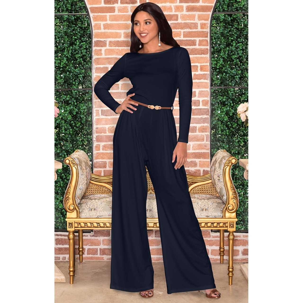 Shop Koh Koh Womens Round Neck Long Sleeve High Waist Romper