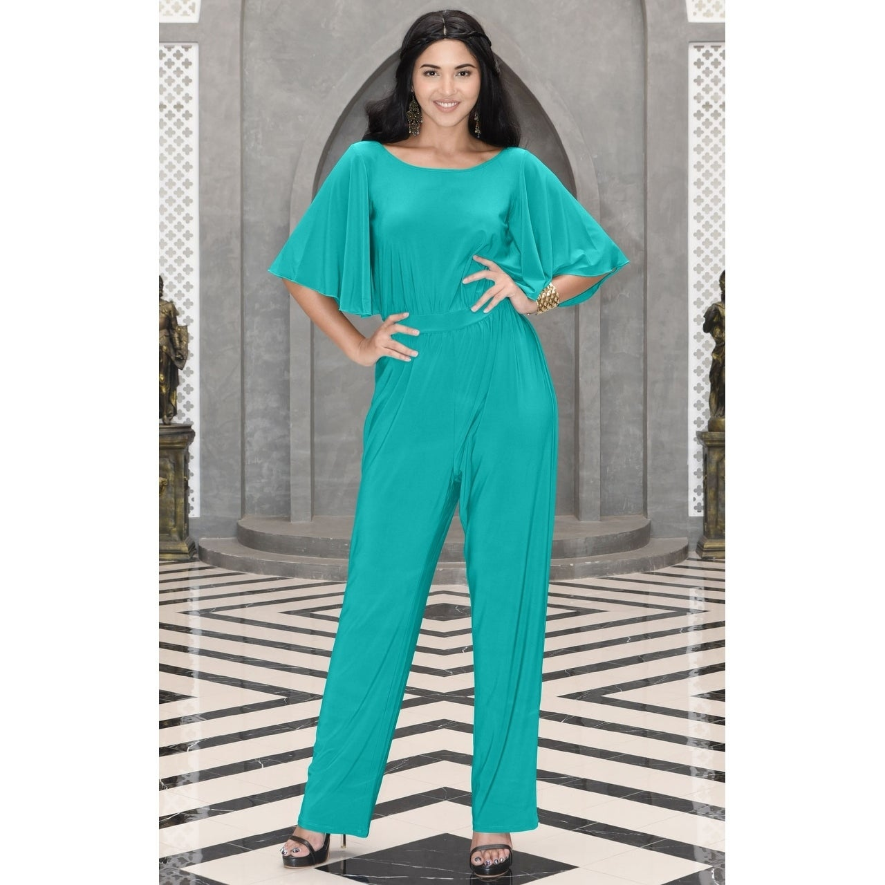 dee435dac2dc Shop KOH KOH Women s Round Neck Batwing 3 4 Sleeve Cocktail Jumpsuit - Free  Shipping On Orders Over  45 - Overstock - 10910390