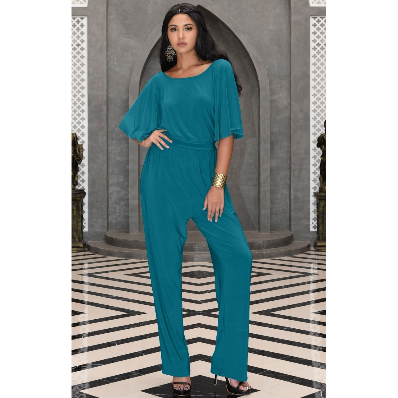 75bacfb7149 Shop KOH KOH Women s Round Neck Batwing 3 4 Sleeve Cocktail Jumpsuit - Free  Shipping On Orders Over  45 - Overstock - 10910390