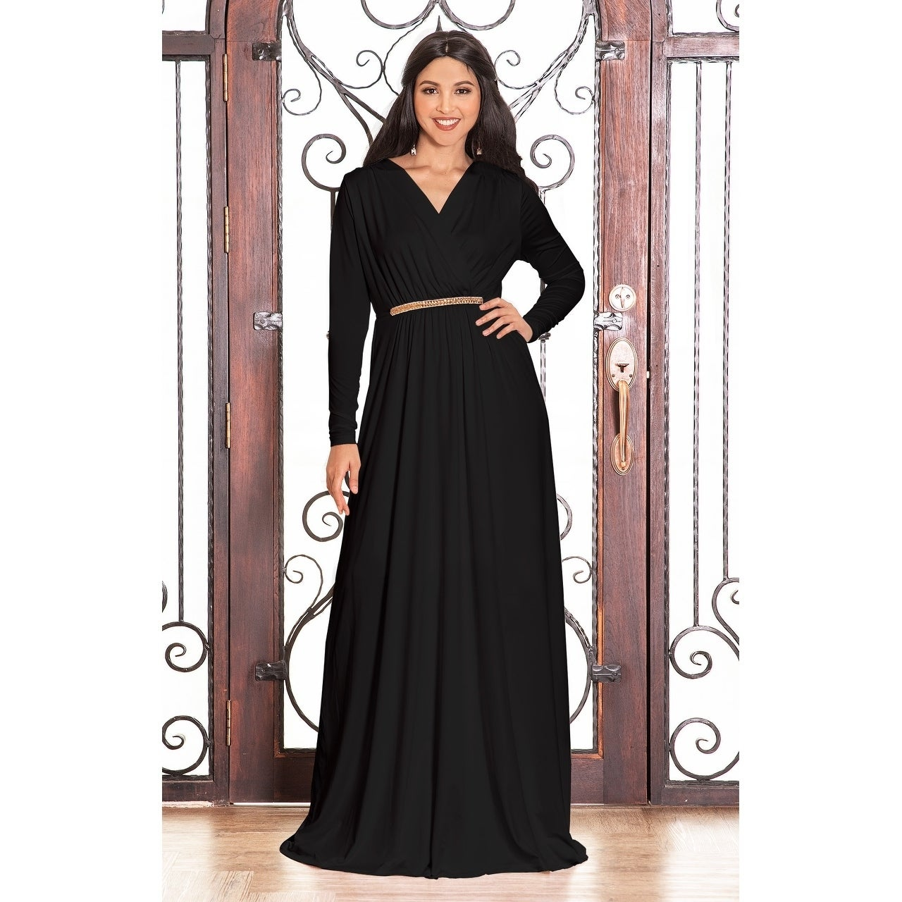 50a0b42b878 Shop KOH KOH Women s Long Sleeve Caftan Maxi Dress with Glamorous Belt -  Free Shipping On Orders Over  45 - Overstock - 10910391