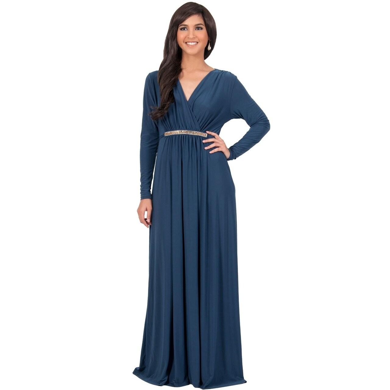 Shop KOH KOH Women\'s Long Sleeve Caftan Maxi Dress with Glamorous ...