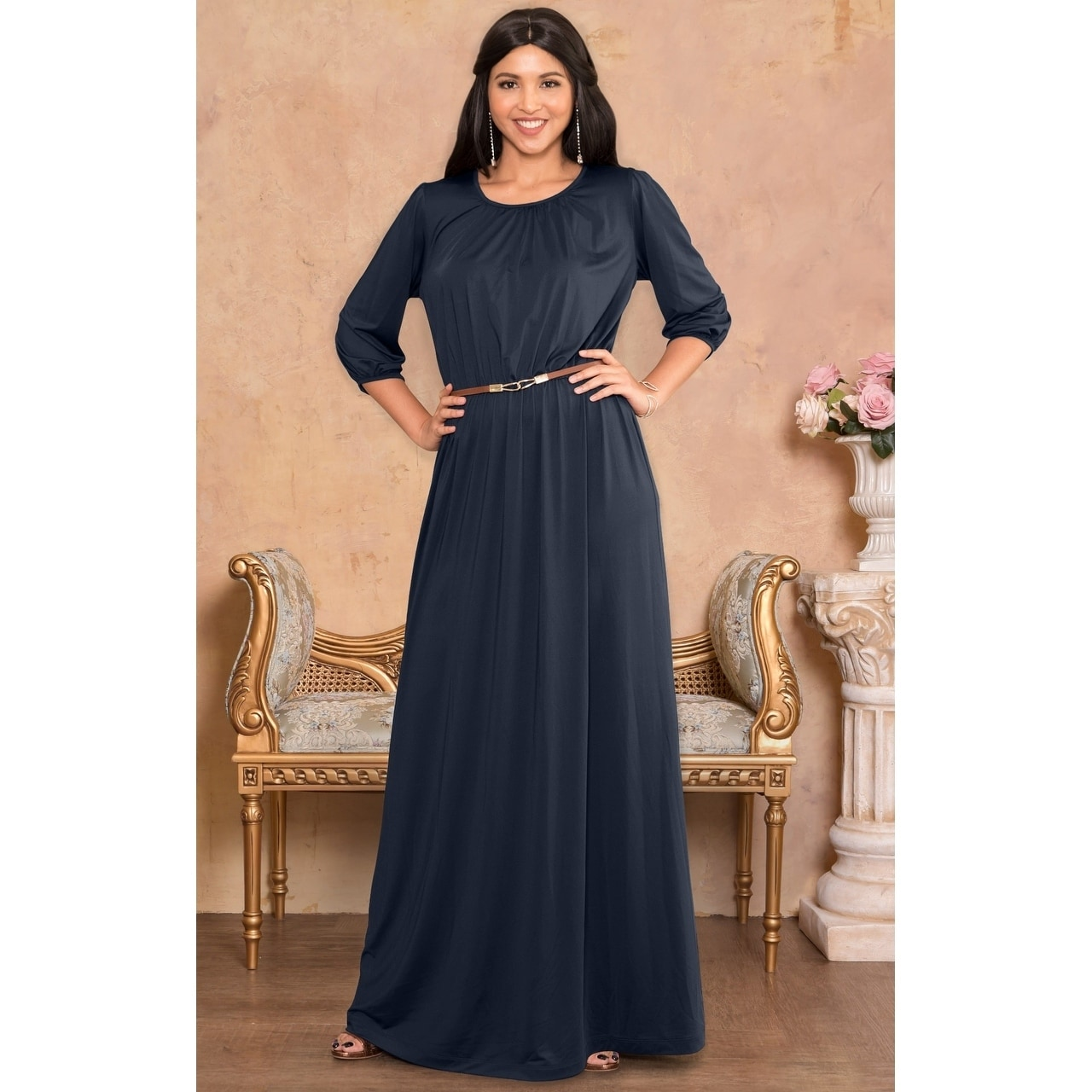 Long 3/4 Sleeve Maxi Dresses