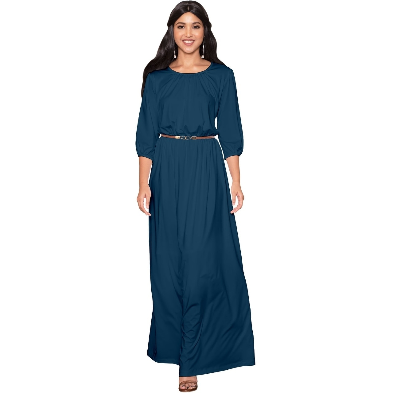 27a30c3ae099d KOH KOH Women Round Neck 3 4 Sleeve Cocktail Long Maxi Dress with Belt