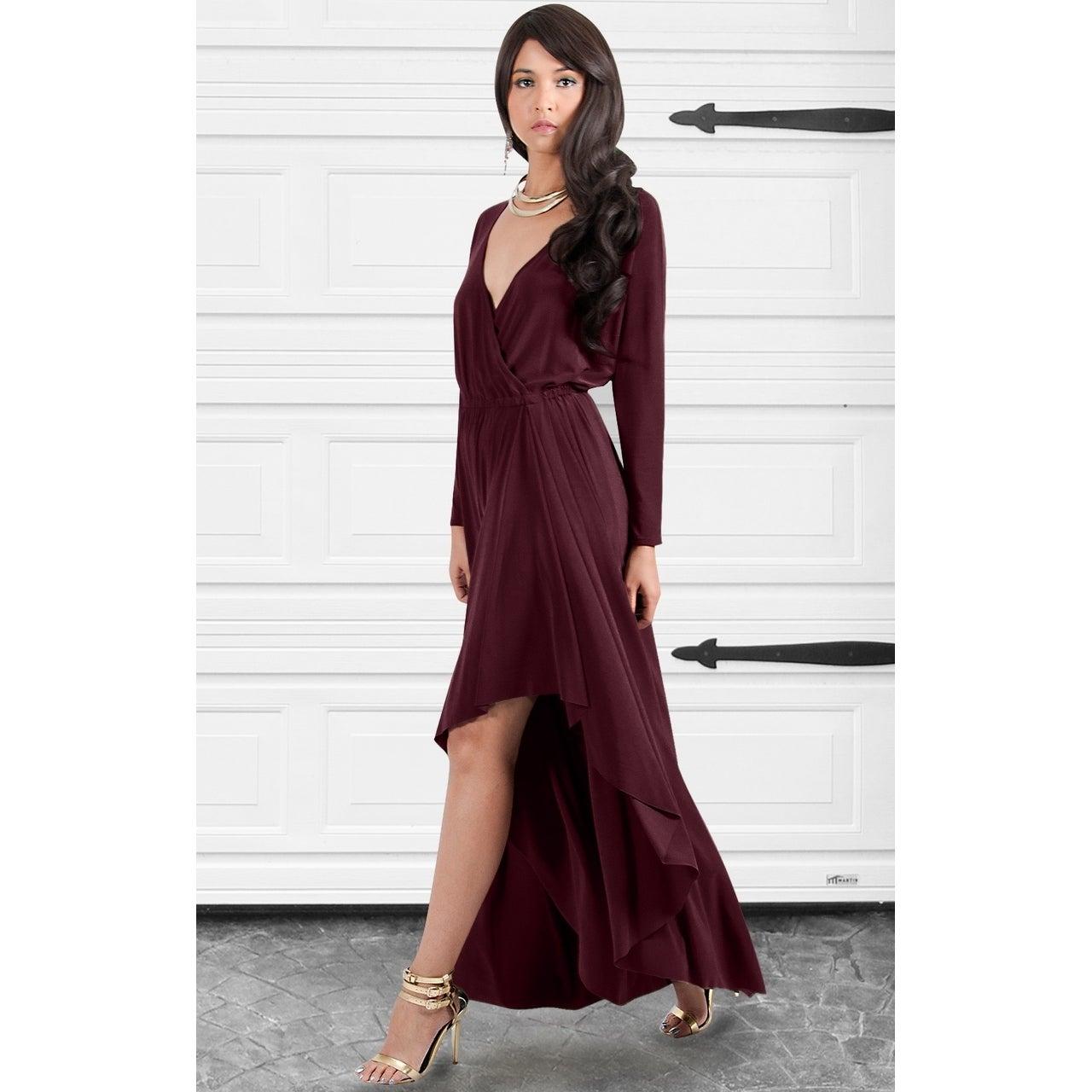 f68da3a4ee6a Shop KOH KOH Womens Designer Long Sleeve Drape Split Cocktail Maxi Dress -  Free Shipping Today - Overstock - 10910394