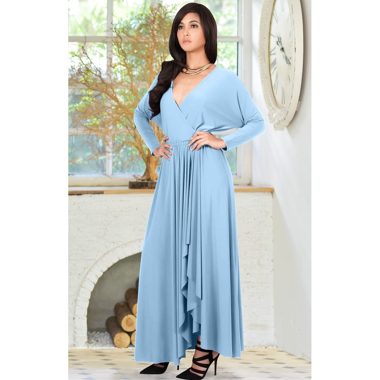 a0c5f7c1c4d KOH KOH Womens Designer Long Sleeve Drape Split Cocktail Maxi Dress