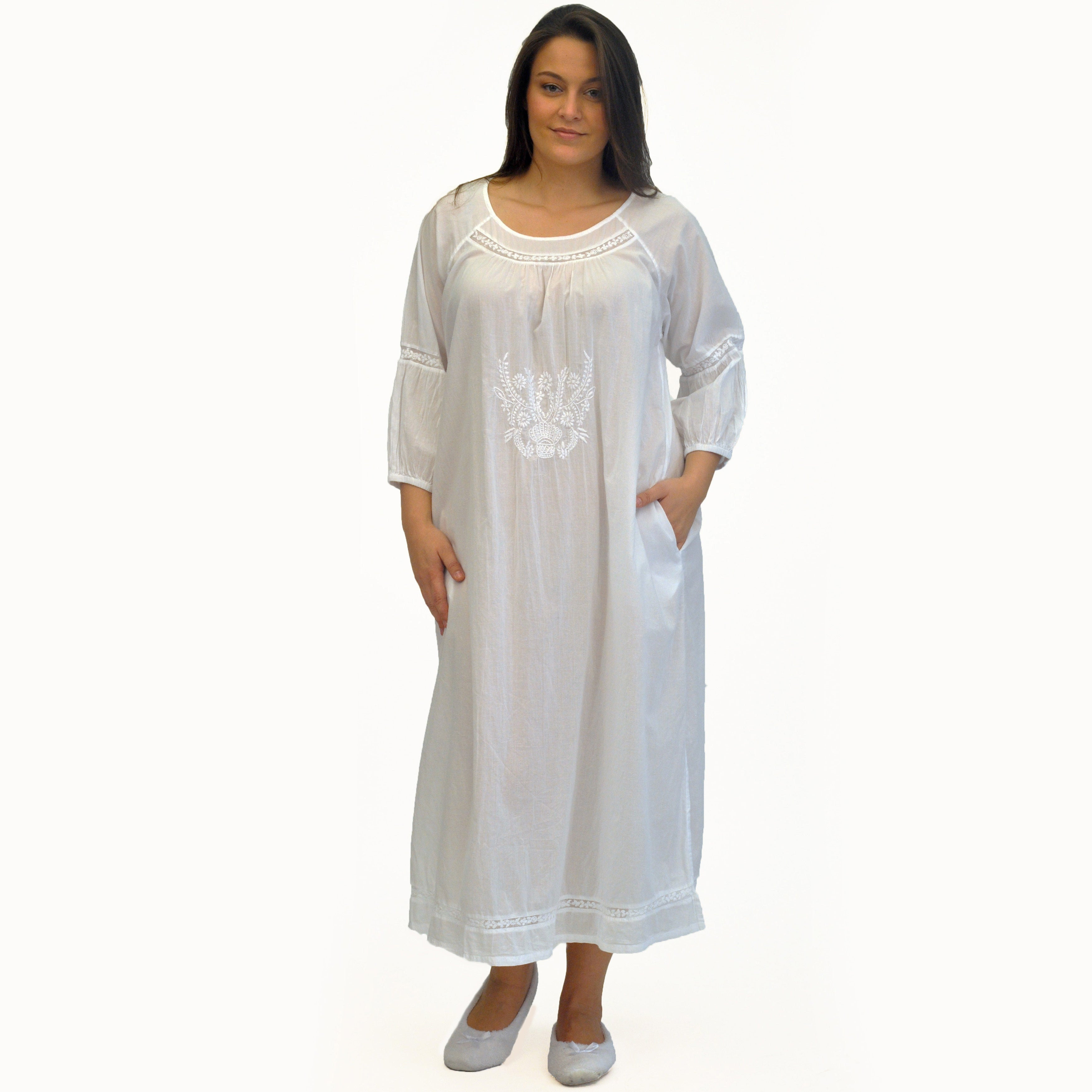 Shop La Cera Women\'s Plus Size Embroidered Night Gown - Free ...