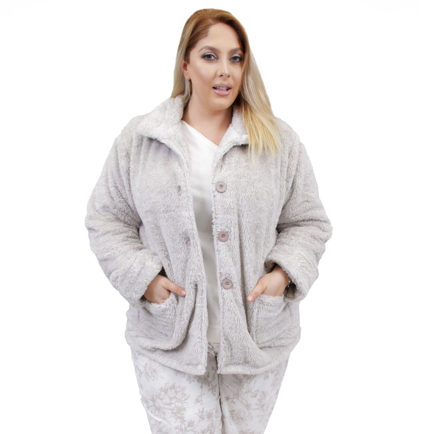 efcf8ec928974 Shop La Cera Women s Plus Size Cowl Neck Bed Jacket - Free Shipping Today -  Overstock - 10914192