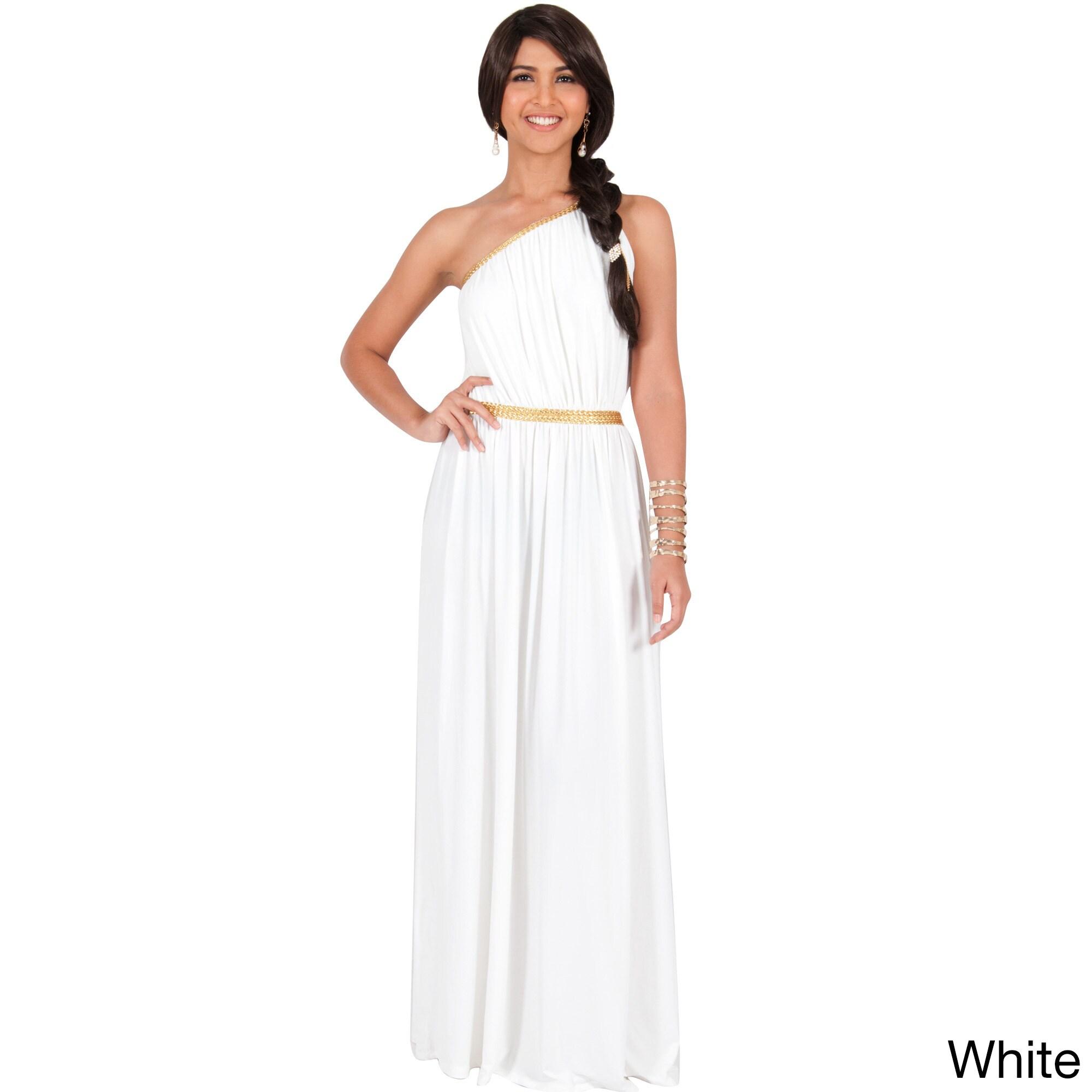 Shop KOH KOH Women\'s One Shoulder Grecian Long Maxi Dress - Free ...