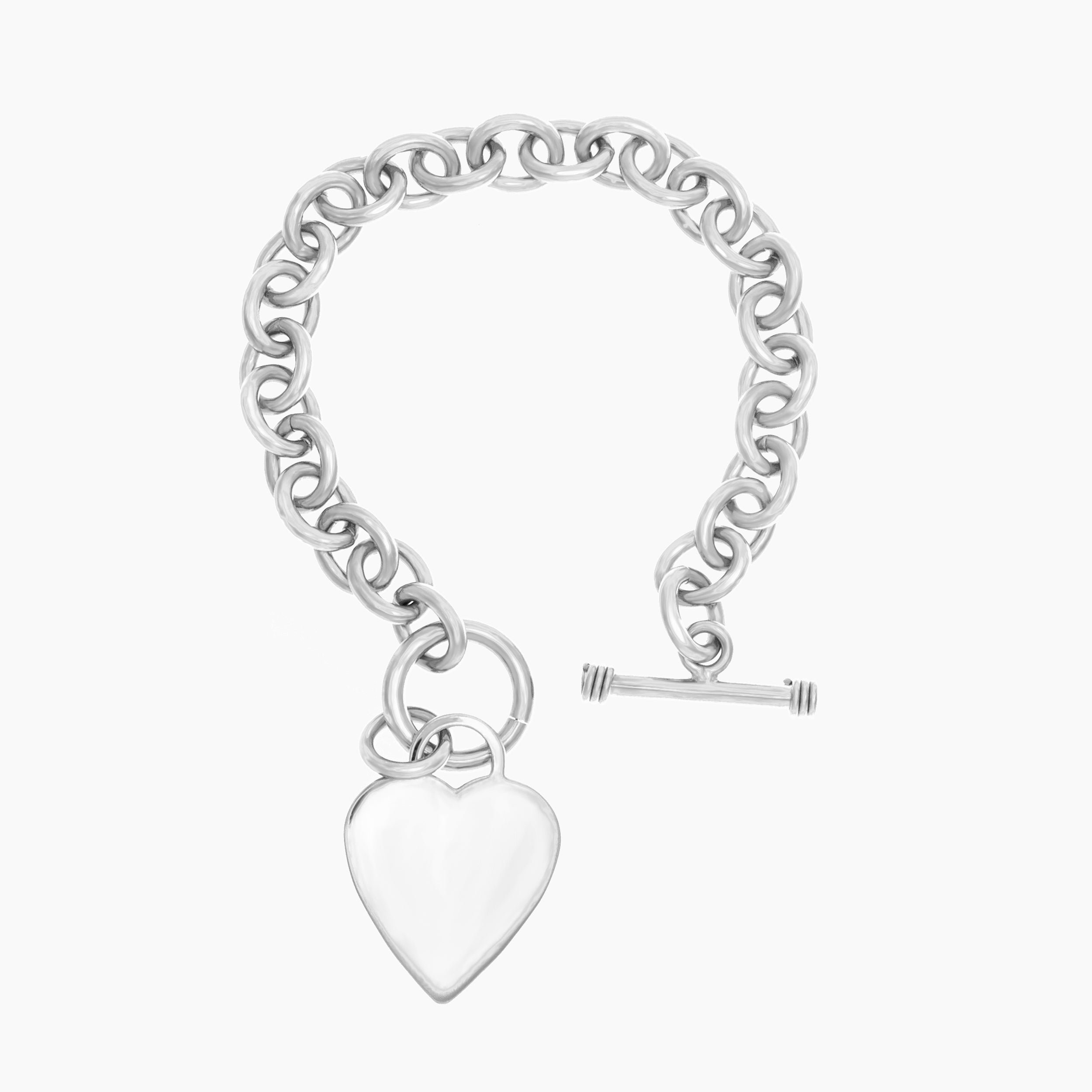 Sterling Silver 8 Inch Heart Toggle Bracelet Free Shipping Today 1092461