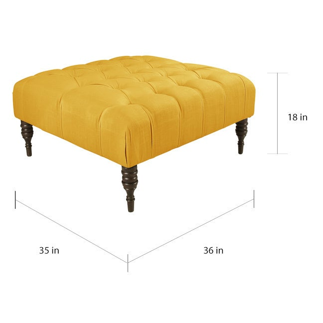 Skyline Furniture Tufted Tail Ottoman In Linen French Yellow Free Shipping Today 10925023
