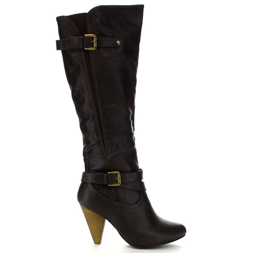 d55e788a6e4f Shop Wild Diva MERTON-34 Women s Motorcycle High Heel Zipper Knee High  Riding Boots - Free Shipping On Orders Over  45 - Overstock - 10938797