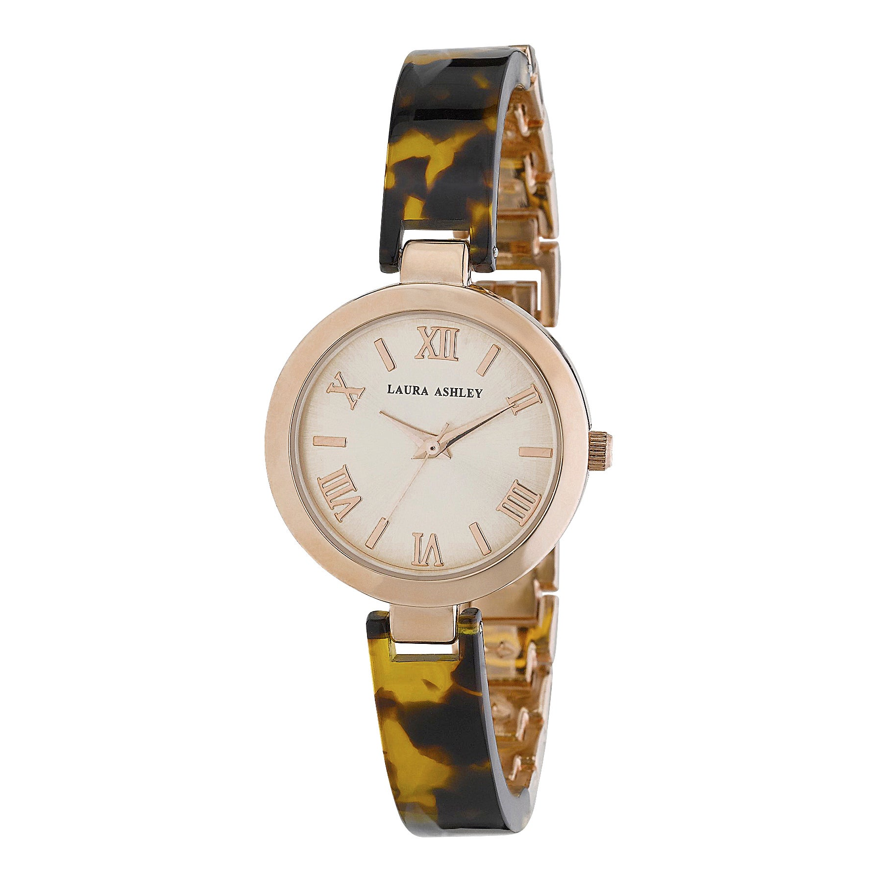 67edba1707a5 Shop Laura Ashley Ladies Tortoise  Rose Gold Resin Link Watch - Free  Shipping Today - Overstock - 10942634