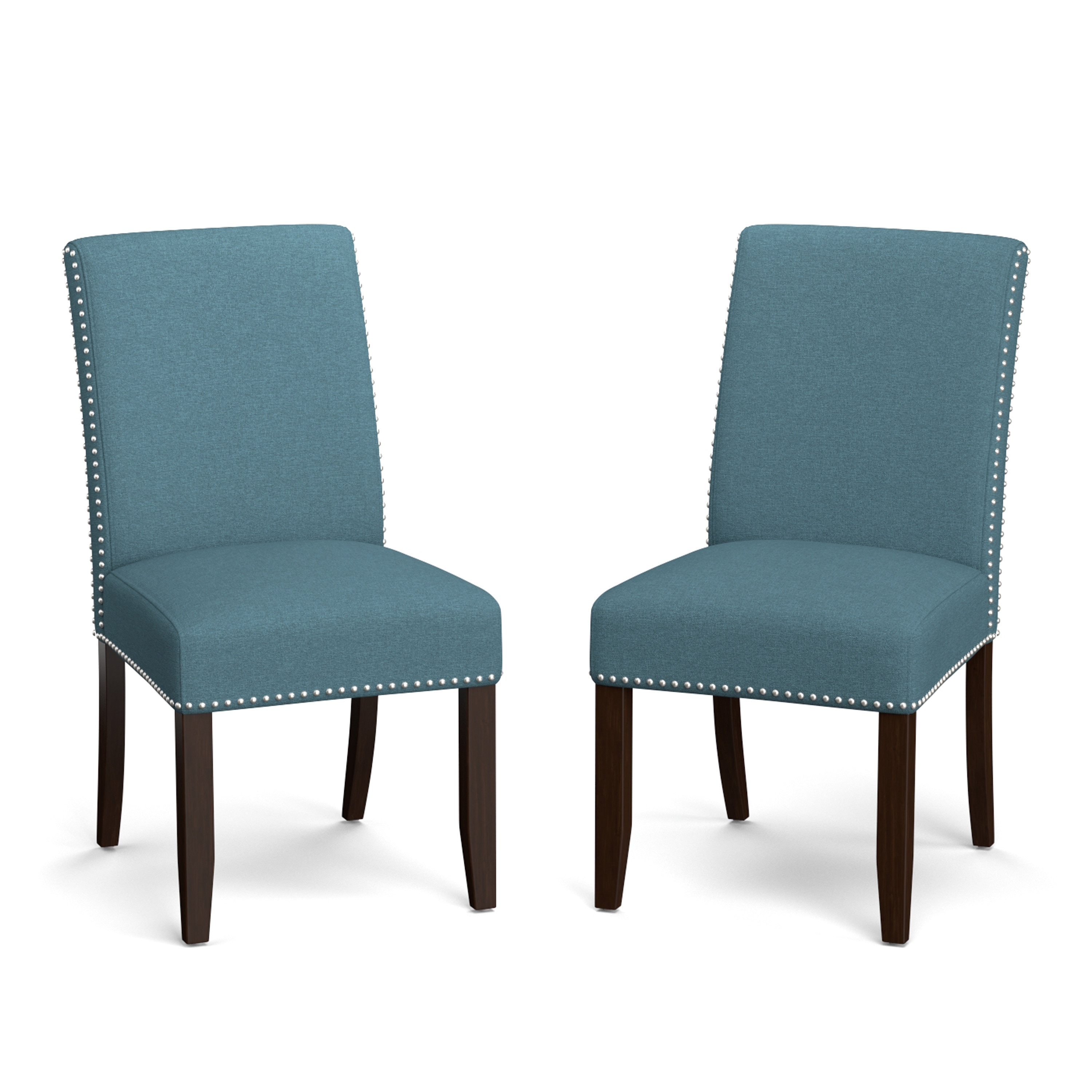 Porch den pope street blue linen upholstered armless dining chairs set of 2