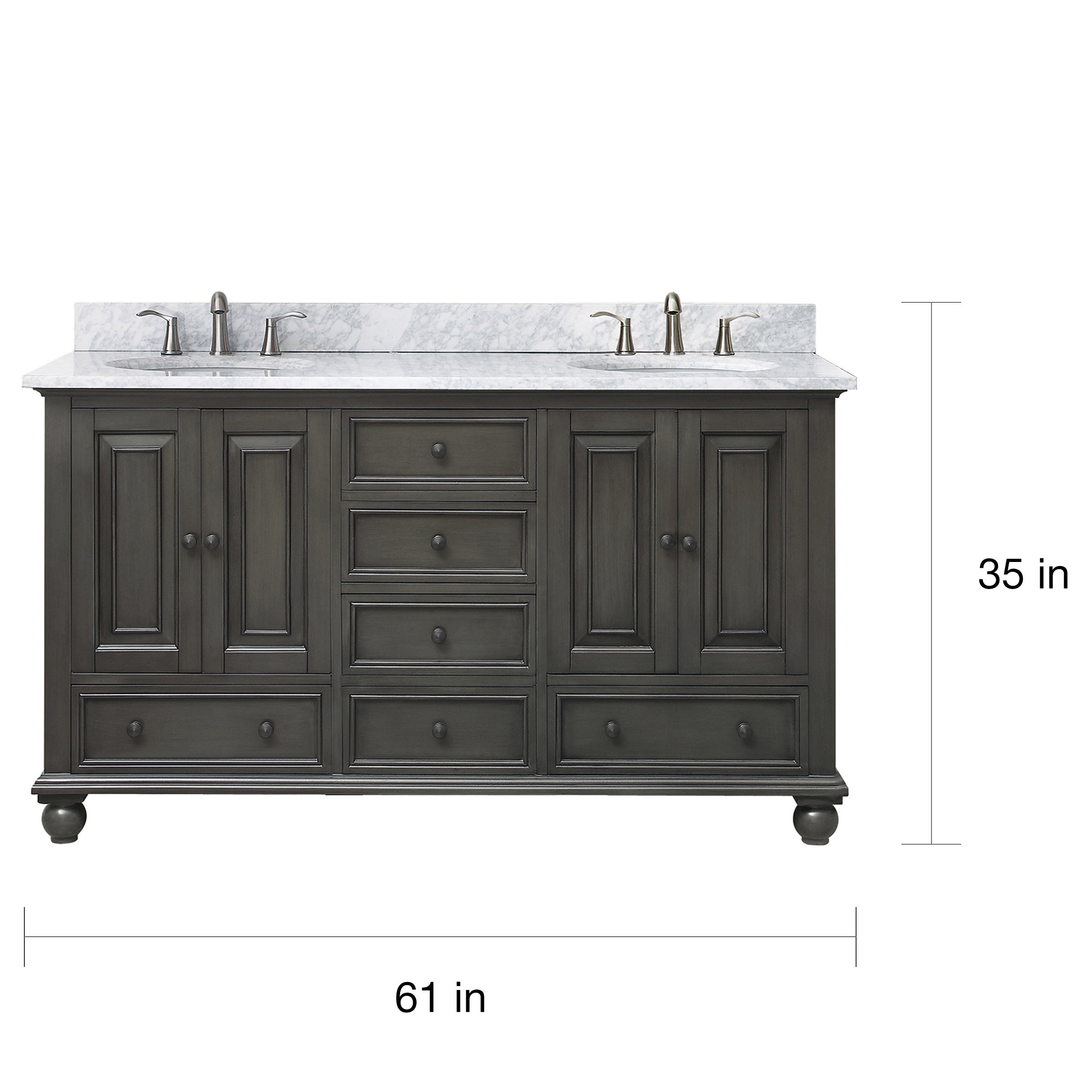 Avanity Thompson 61 Inch Double Sink Vanity Combo In Charcoal Glaze Finish