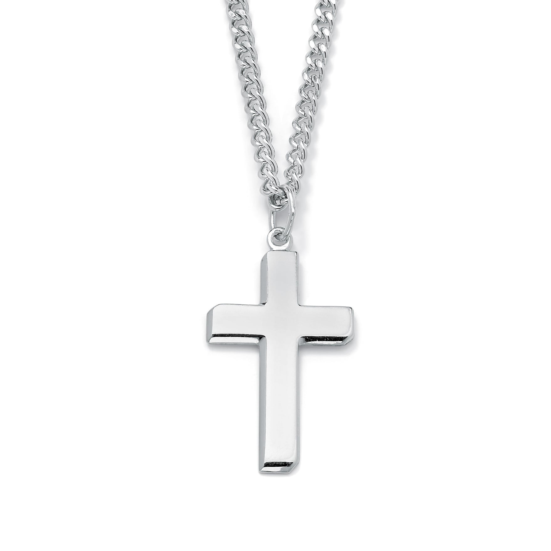 Shop sterling silver mens cross pendant necklace free shipping shop sterling silver mens cross pendant necklace free shipping today overstock 10951313 aloadofball Choice Image