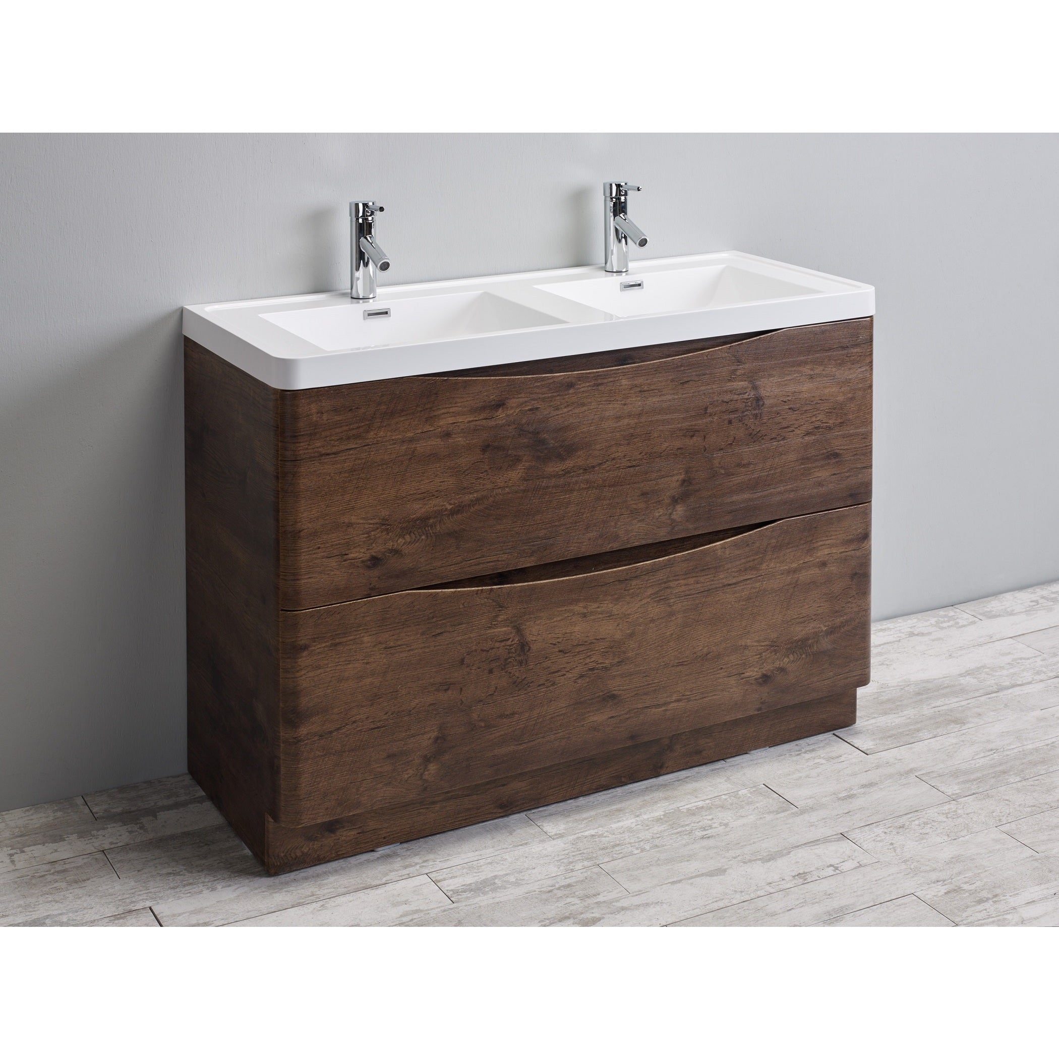 Eviva Smile 48 Inch Rosewood Modern Bathroom Vanity Set With Integrated White Acrylic Double Sink Free Shipping Today 10951754