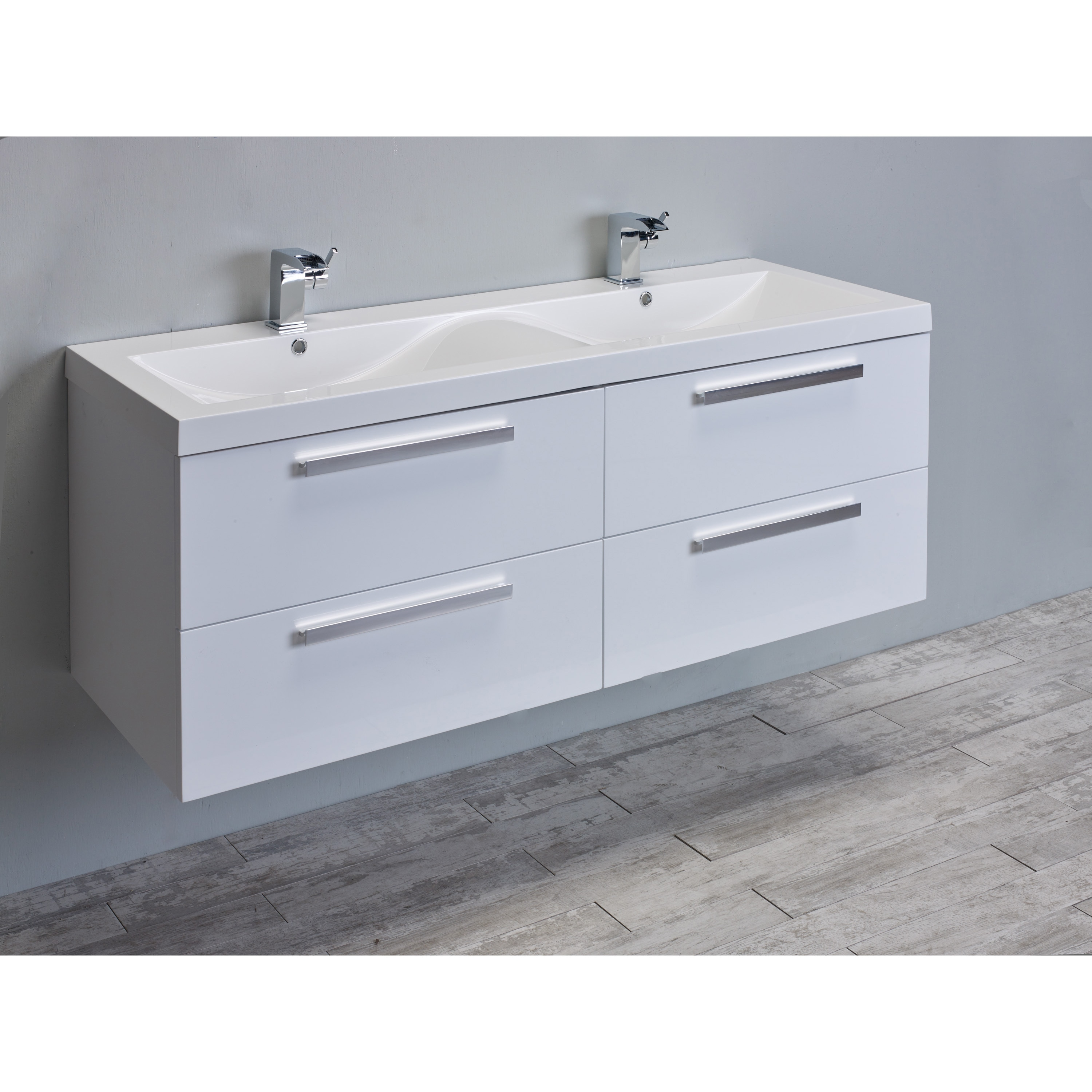 Eviva Surf 57-inch White Modern Bathroom Vanity Set with Integrated ...