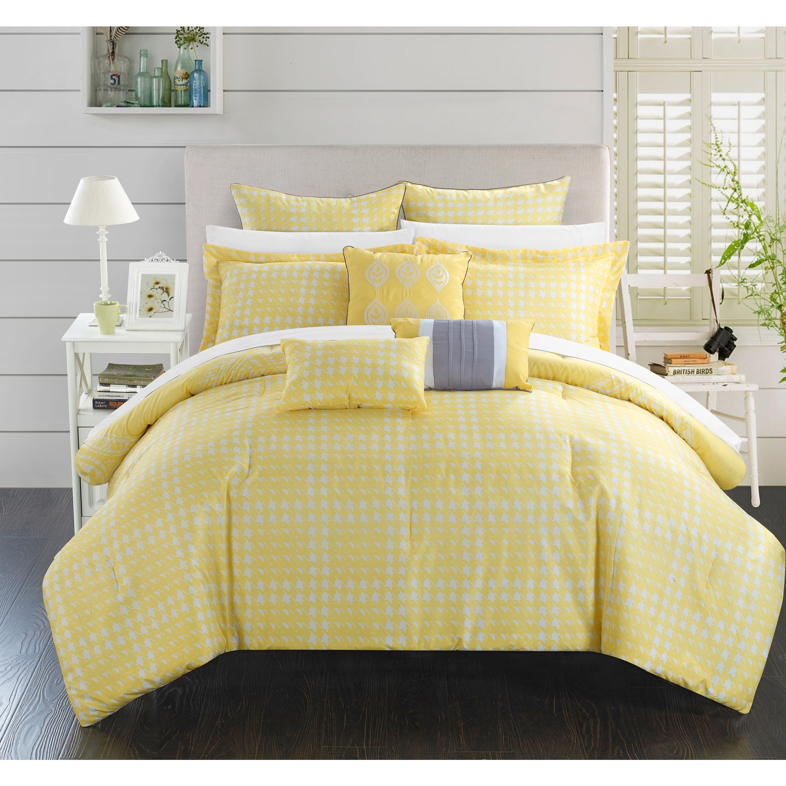 gray piece bedding lace queen and comforter sets p antique chevron full set yellow bed