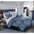 Chic Home Perugia Navy Oversized Reversible 12-piece Bed In a Bag with Sheet Set