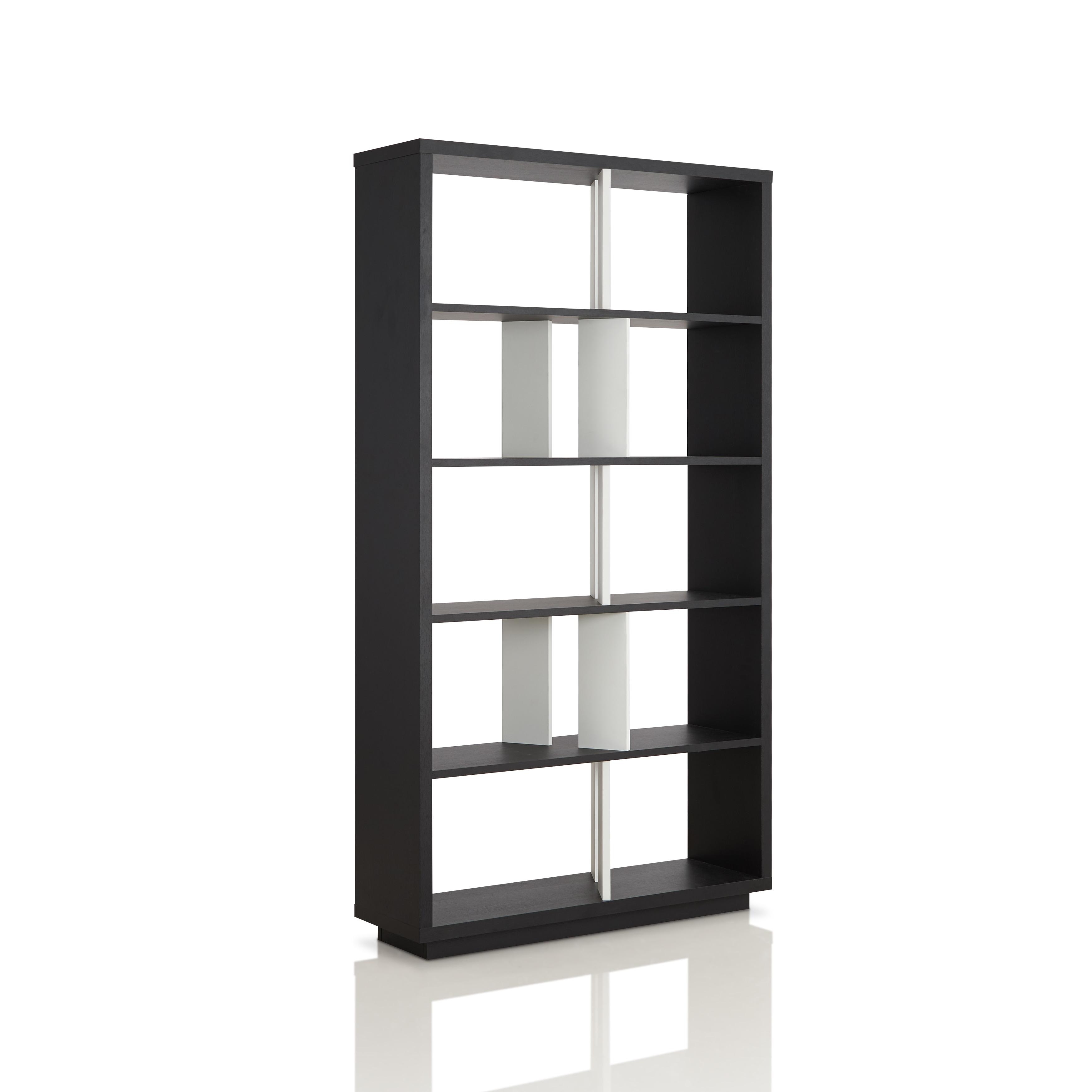 Shop Furniture Of America Balto Modern Black And White Open Bookshelf Room Divider