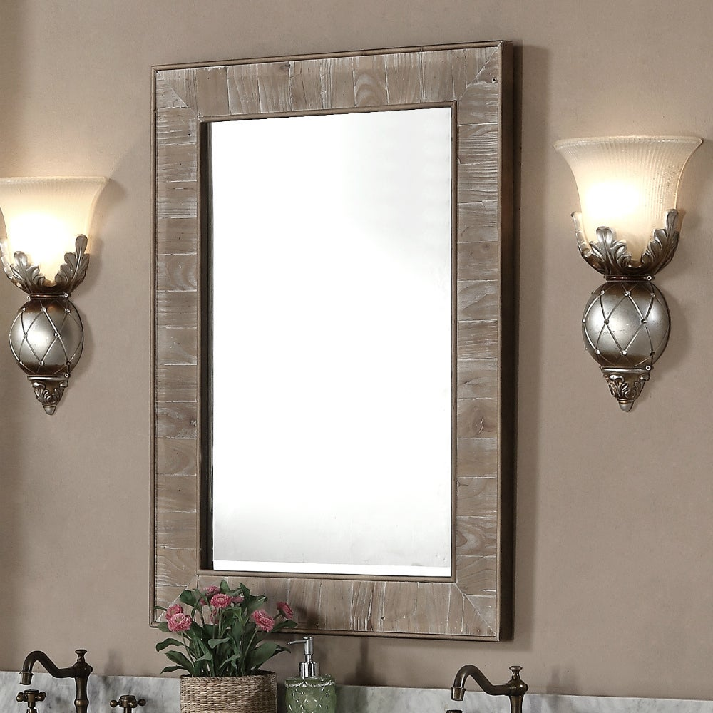 Rustic Style 26-inch wide Rectangular Wall Mirror - Free Shipping Today -  Overstock.com - 17983873