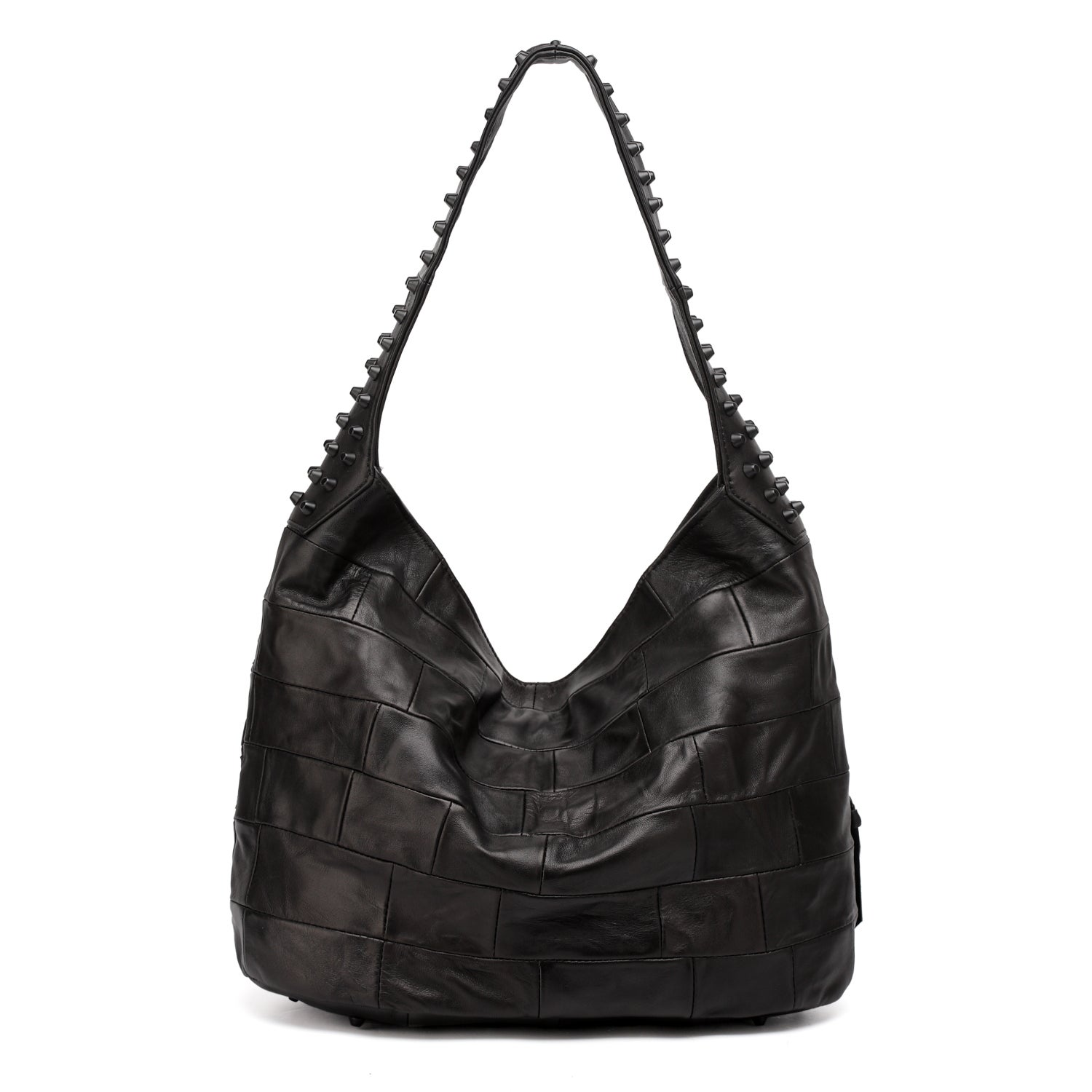 Vicenzo Leather Swagger Black Studded Hobo Handbag On Free Shipping Today 10971442