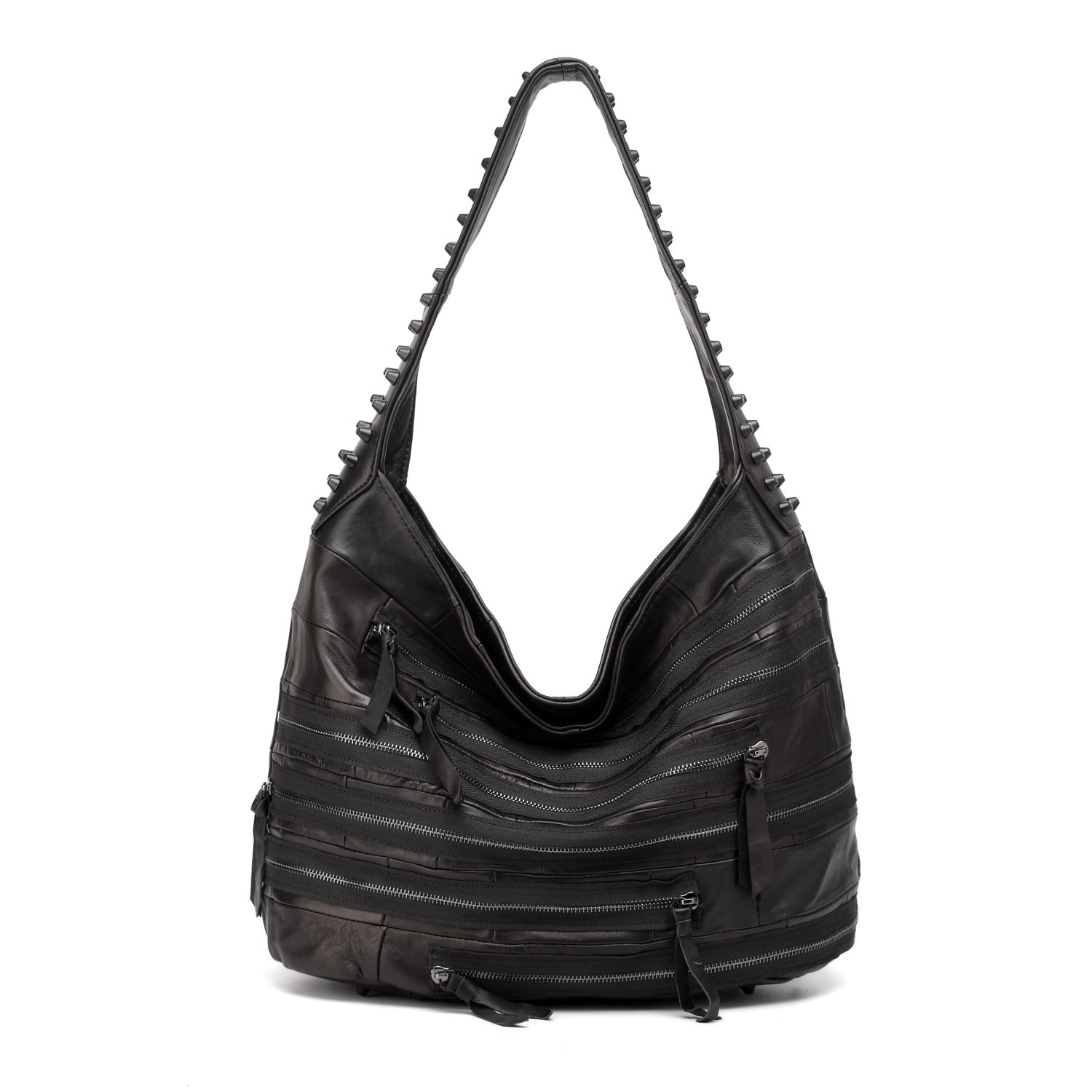 Shop Vicenzo Leather Swagger Black Studded Hobo Leather Handbag - Free  Shipping Today - Overstock.com - 10971442 90882b2062