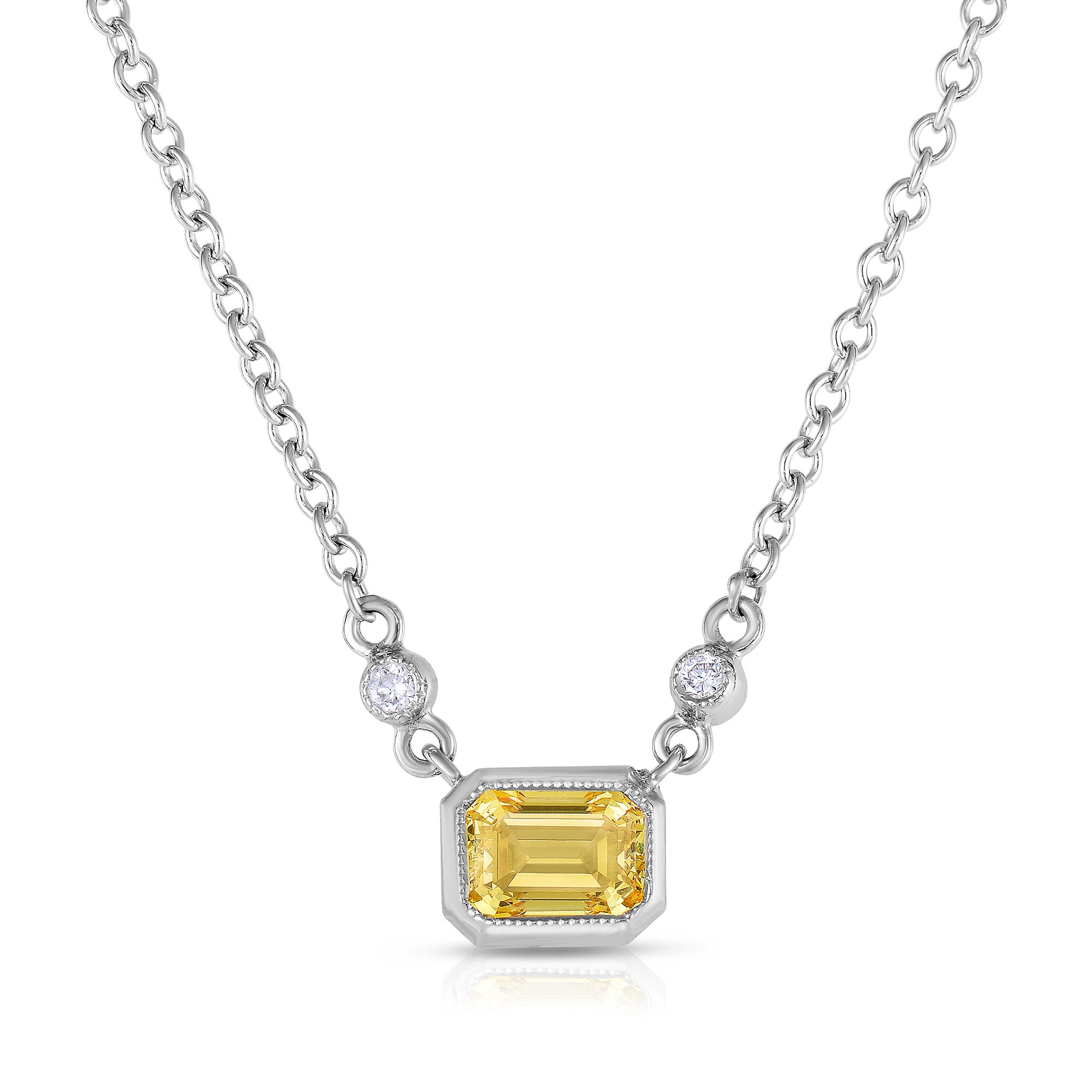 necklace diamond in white bezel pendant gold
