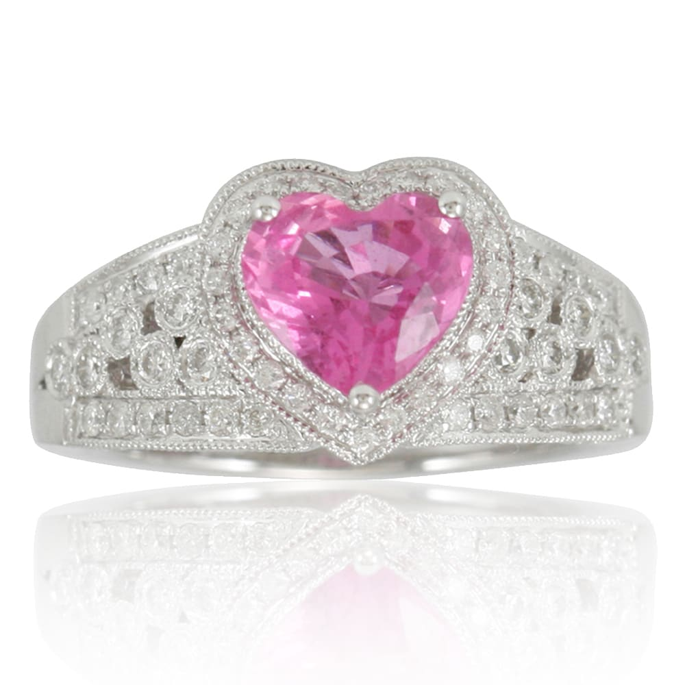 Suzy Levian 14K White Gold Pink Ceylon Sapphire and Diamond Ring ...