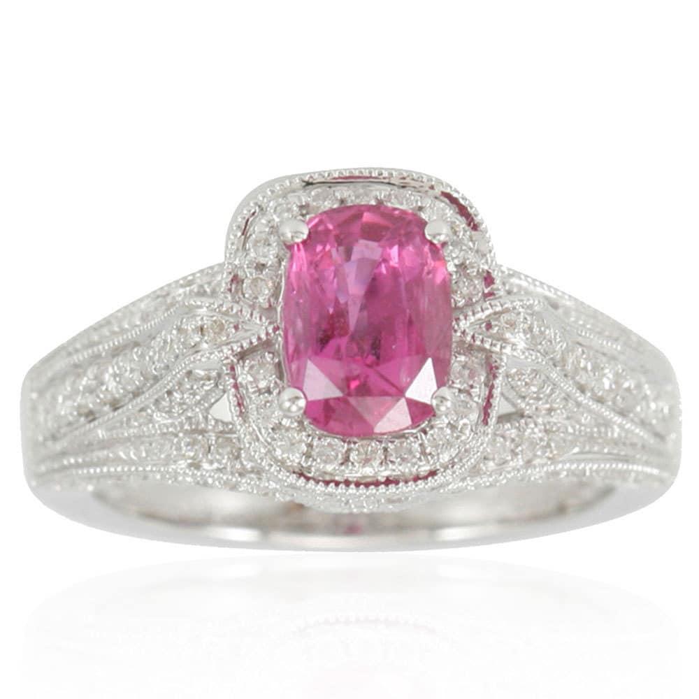 Suzy Levian 14K White Gold 2.43 TDW Pink Sapphire Diamond Ring ...