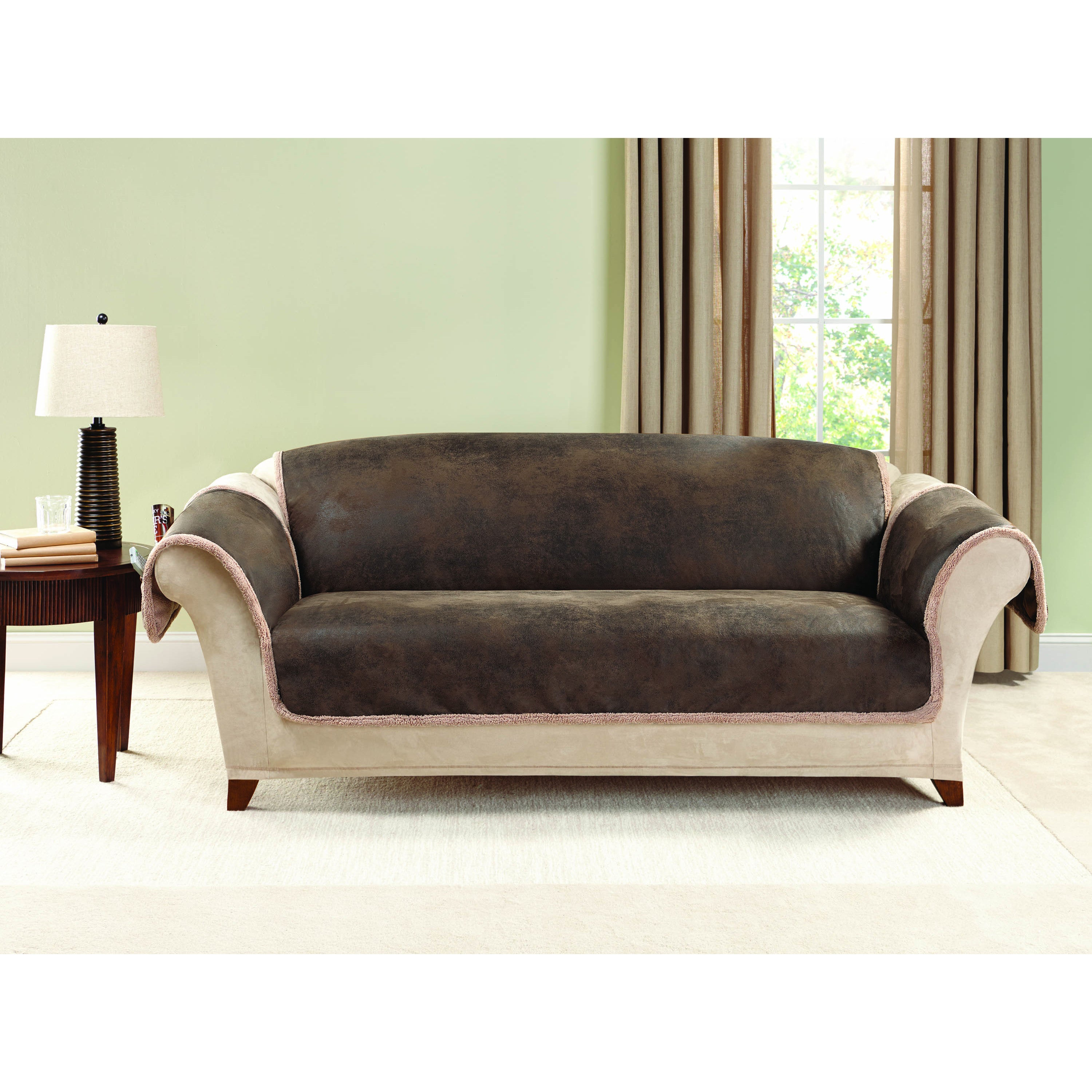 Sure Fit Vintage Leather Sofa Furniture Protector On Free Shipping Today 10977989