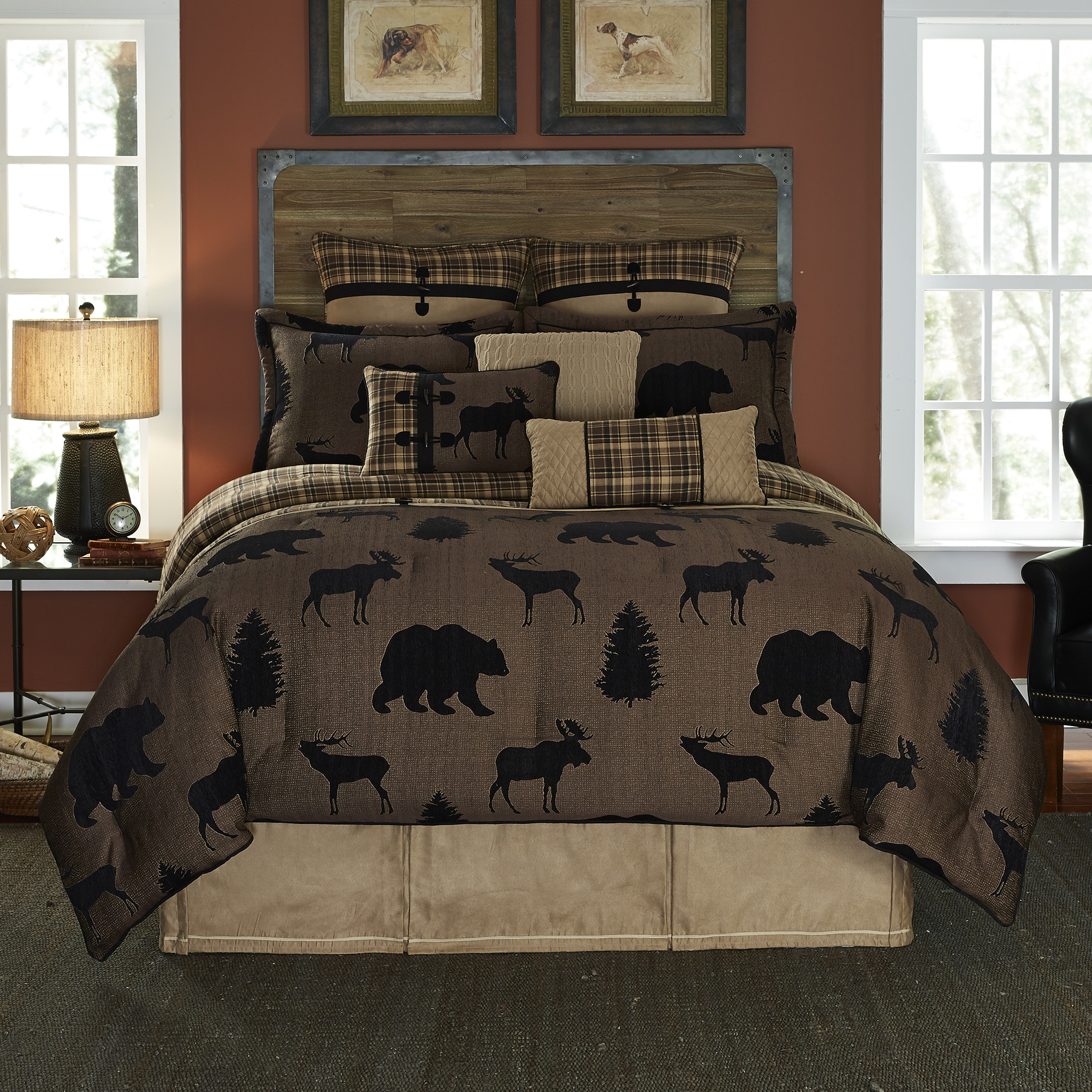 cabins comforters american southwest pin woods hunting set native forest pattern cabin bedding comforter bear queen lodge themed brown
