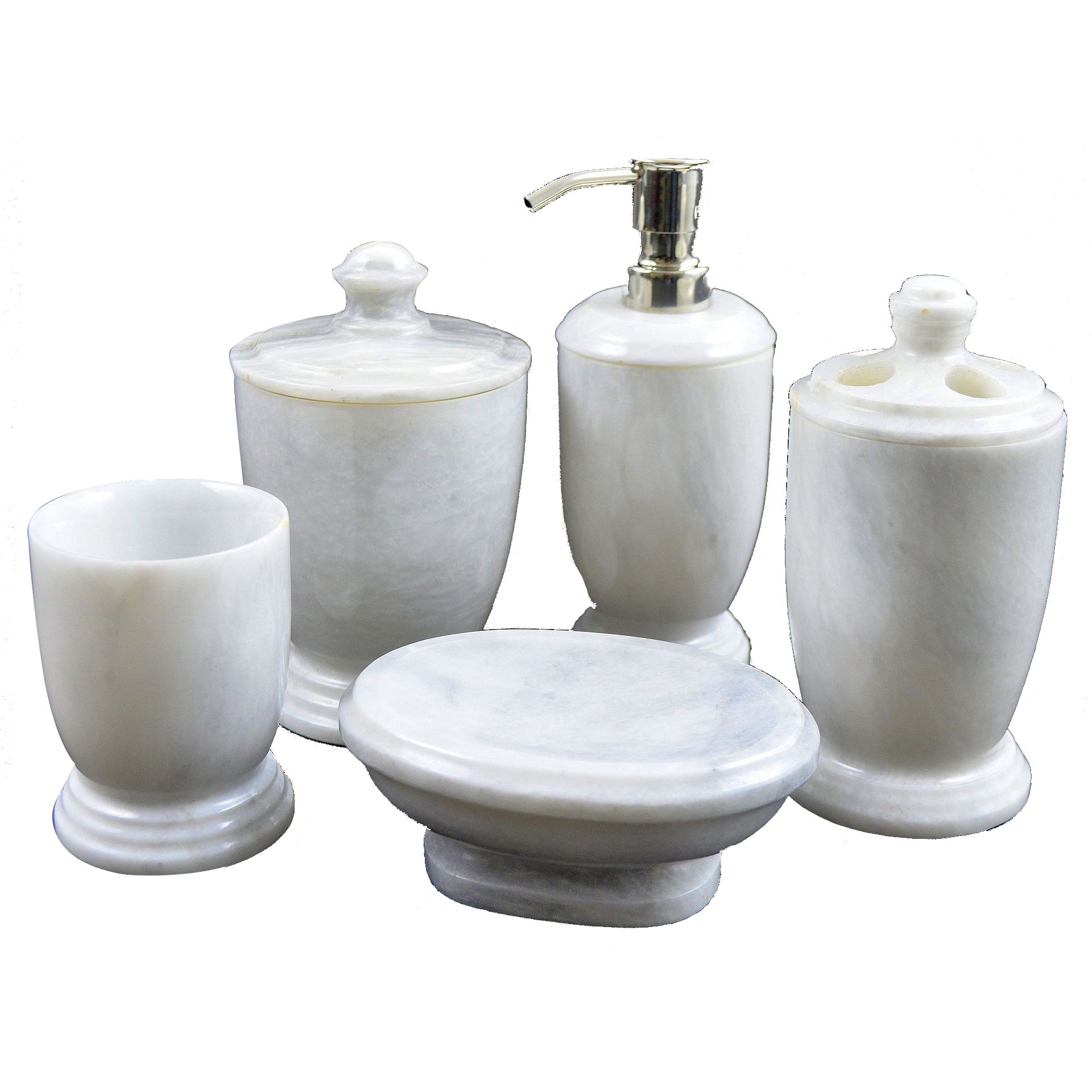 Nature Home Decor Atlantic White Marble 5-piece Bathroom Accessory ...