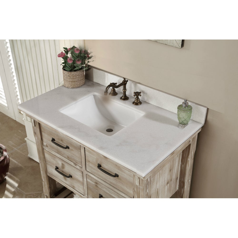 Shop Rustic Style Quartz White Marble Top 36-inch Bathroom Vanity ...