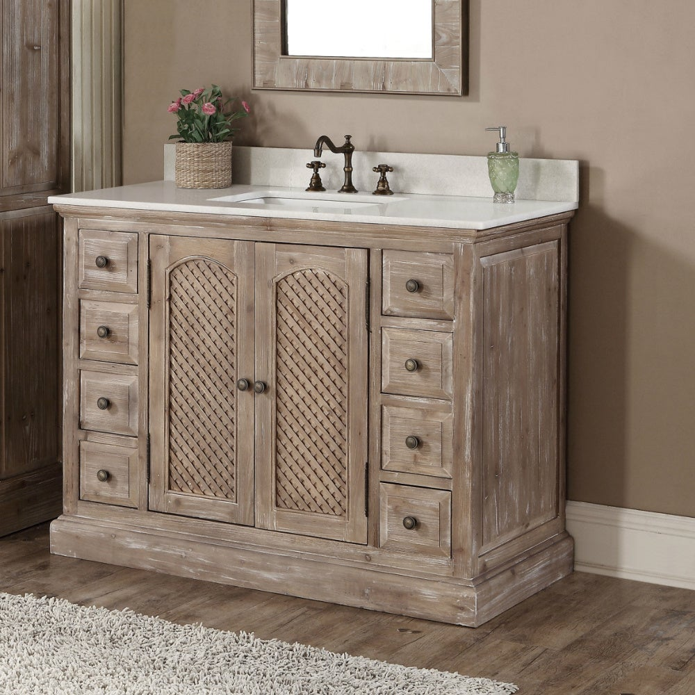 Shop Rustic Style Carrara White Marble Top 48 Inch Bathroom Vanity   Free  Shipping Today   Overstock.com   10988127