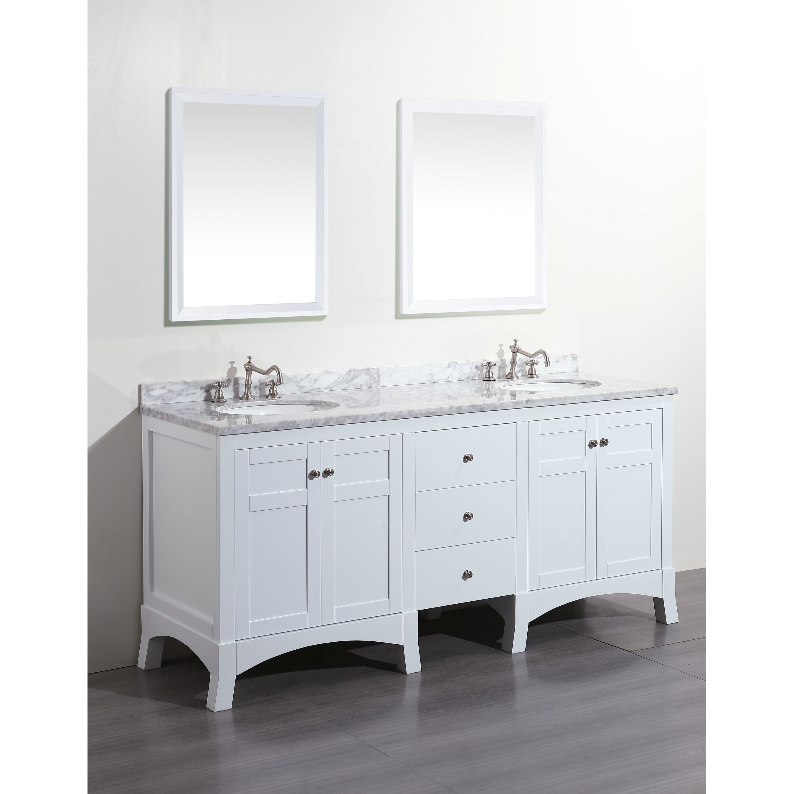 Eviva New York White Marble Carrera Counter-top and Sink White 72 ...