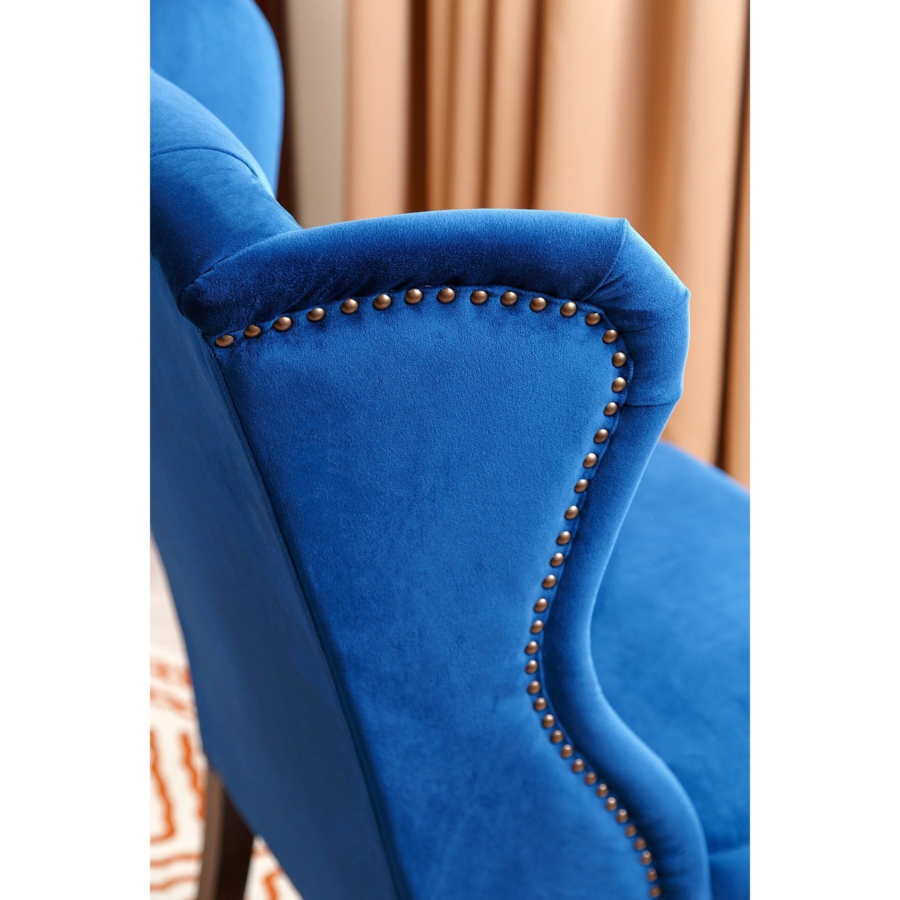 Abbyson Sierra Tufted Navy Blue Velvet Wingback Dining Chair On Free Shipping Today 10990684