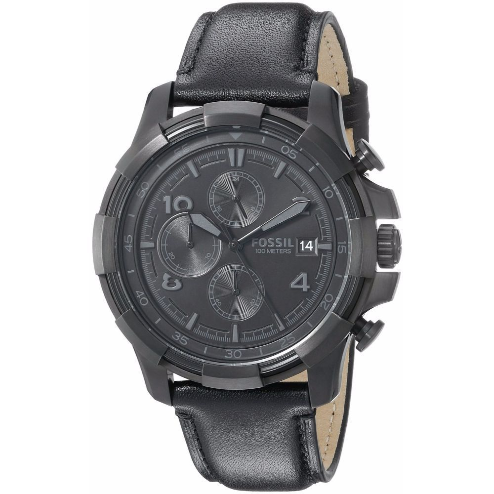 a170c1274aeaa Shop Fossil Men s FS5132  Grant  Chronograph Black Leather Watch - Free  Shipping Today - Overstock - 10990752