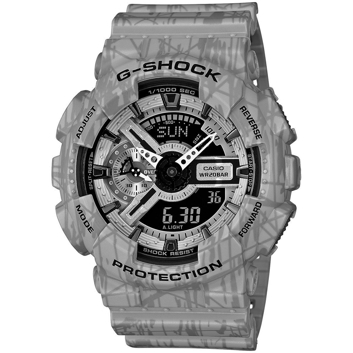 cdb2fbd2c Shop Casio G-Shock Men's Analog-Digital Dial Patterned Grey Resin Watch - Free  Shipping Today - Overstock - 10991335