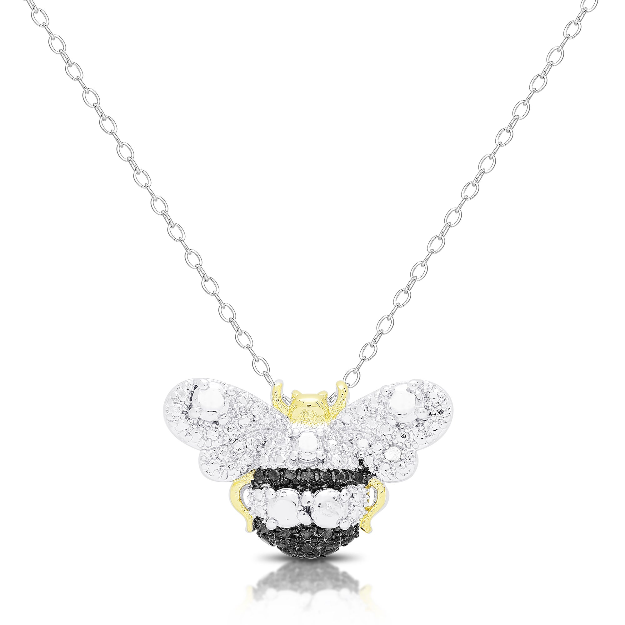 diamond product jewelry orders free overlay necklace watches bumblebee silver over honey overstock accent pendant on finesque bee shipping
