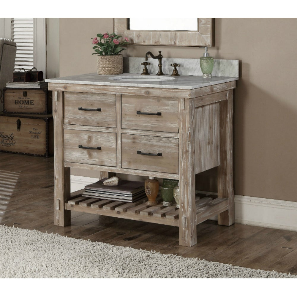Shop rustic style carrara white marble top 36 inch bathroom vanity free shipping today overstock com 10991508