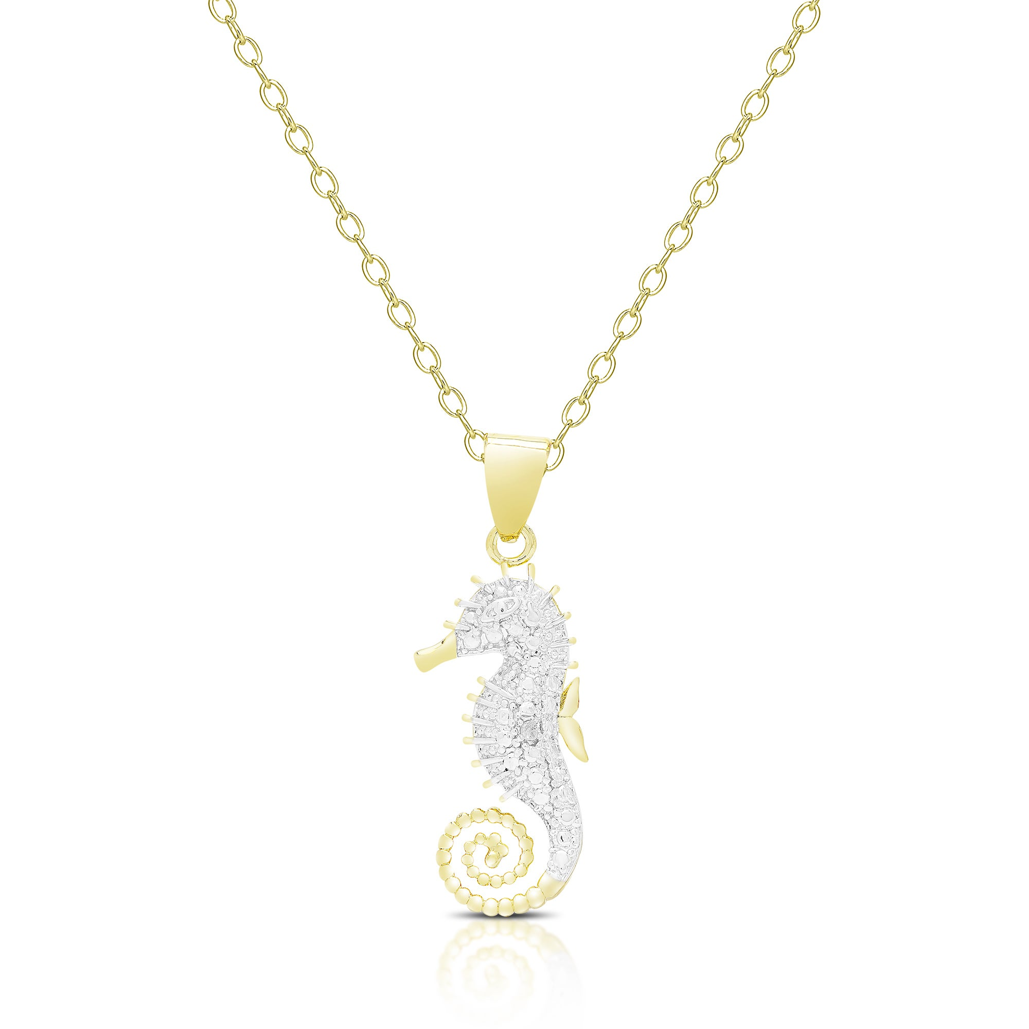 pin bead european chain necklace long seahorse jewelry silver
