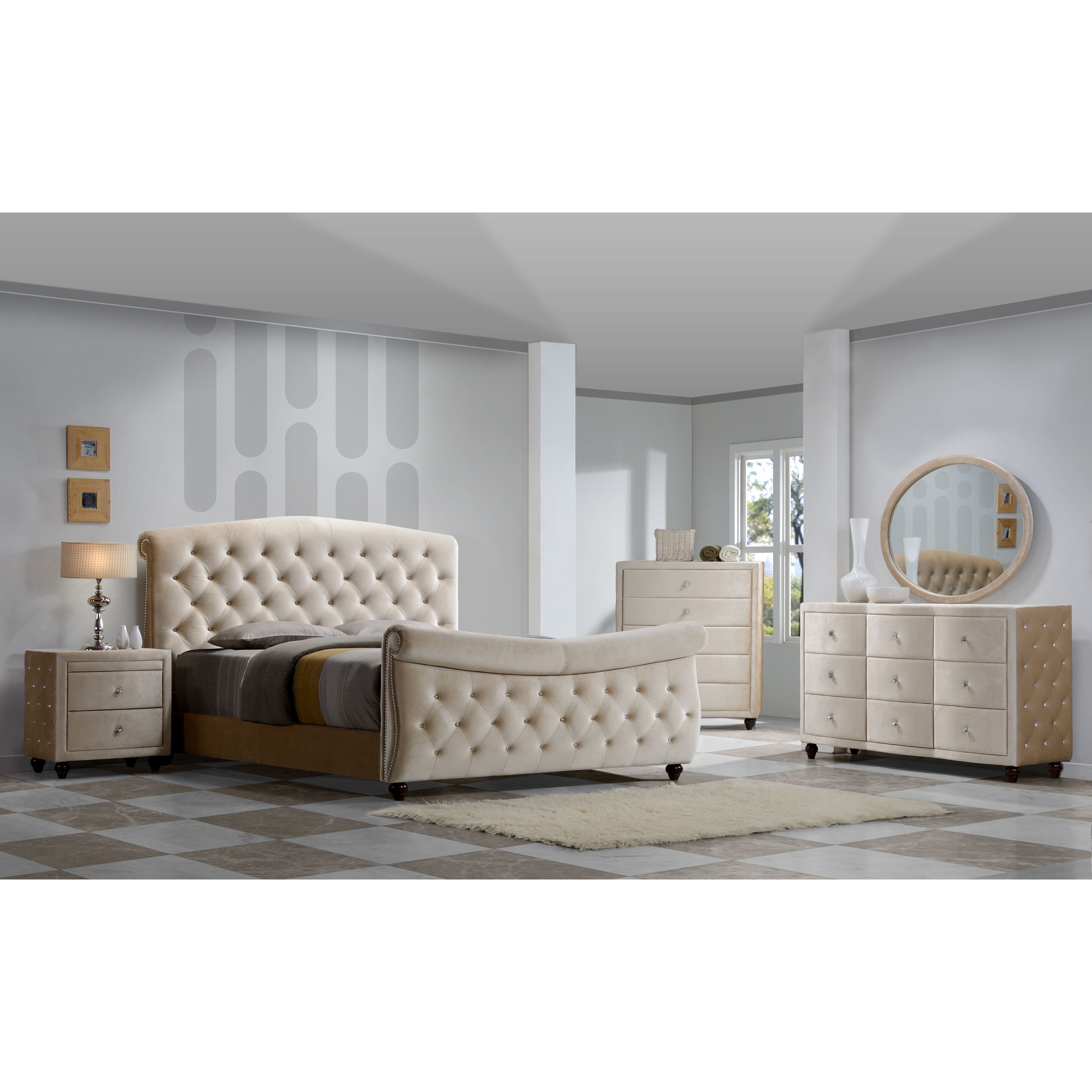 Shop Diamond Golden Beige Velvet Tufted Sleigh Bed   Free Shipping Today    Overstock.com   10991648