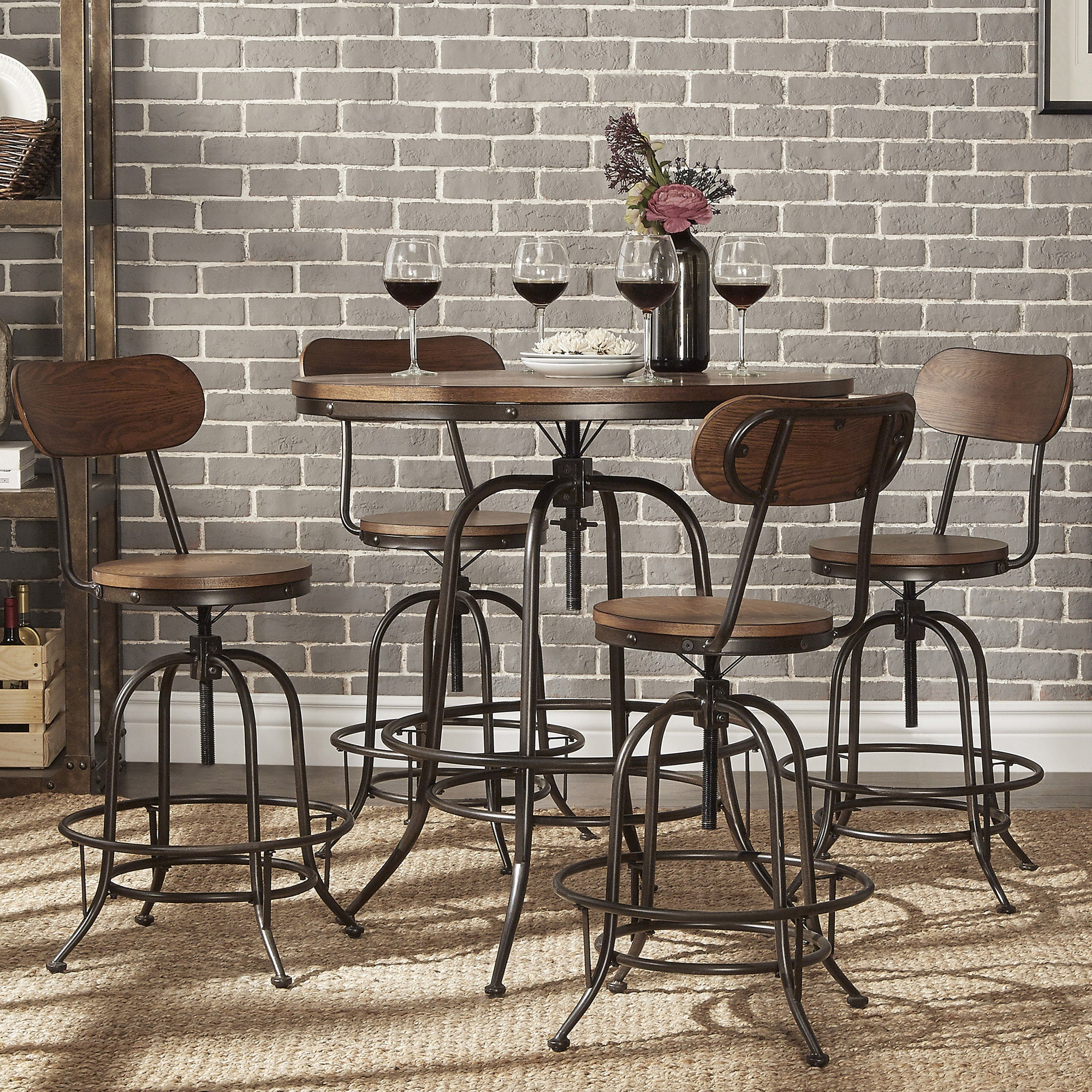 Berwick Industrial Style Round Counter Height Pub Adjustable Dining Set By  INSPIRE Q Classic   Free Shipping Today   Overstock   18012876